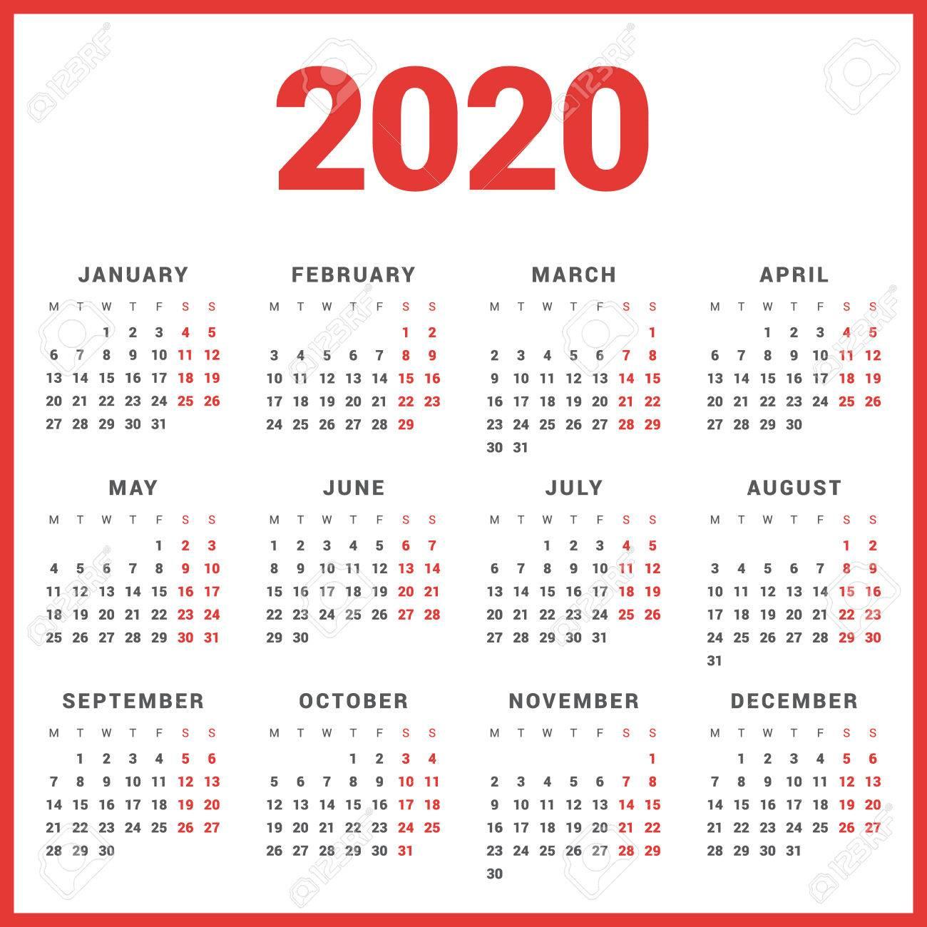 2020 Calendar Starting On Monday