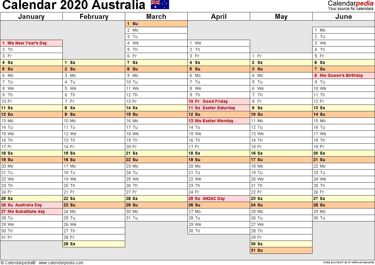 2020 Calendar Template Australia