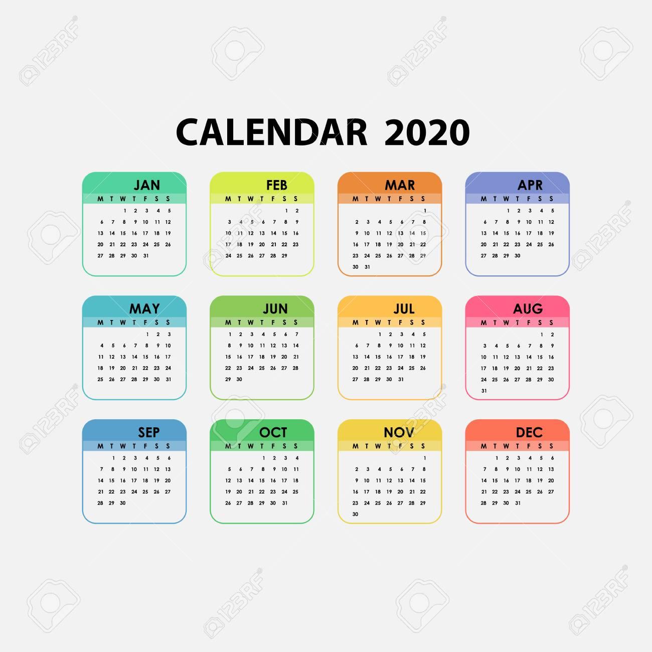 2020 Calendar Template.calendar 2020 Set Of 12 Months.yearly