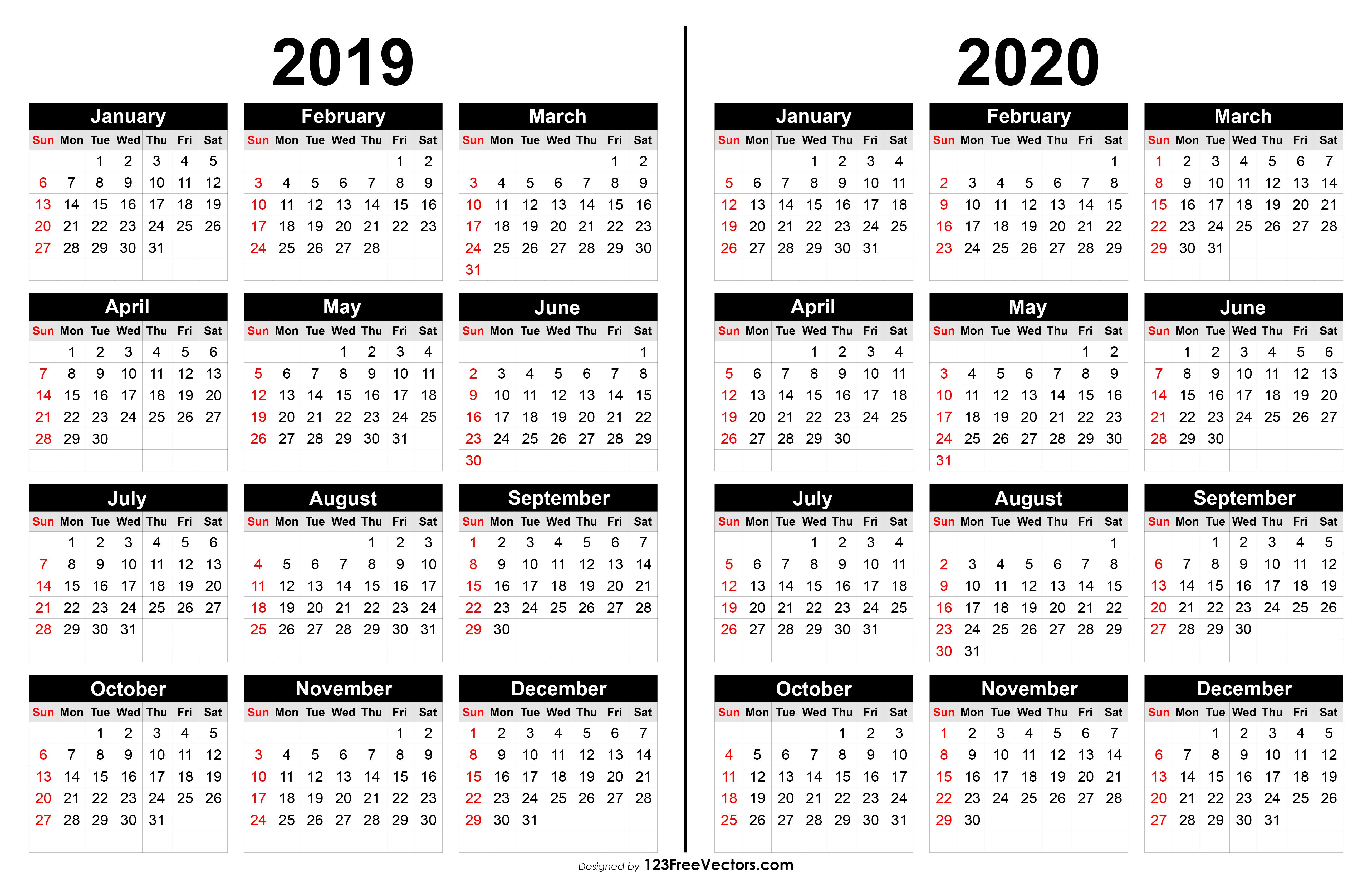 2020 Calendar Template Illustrator
