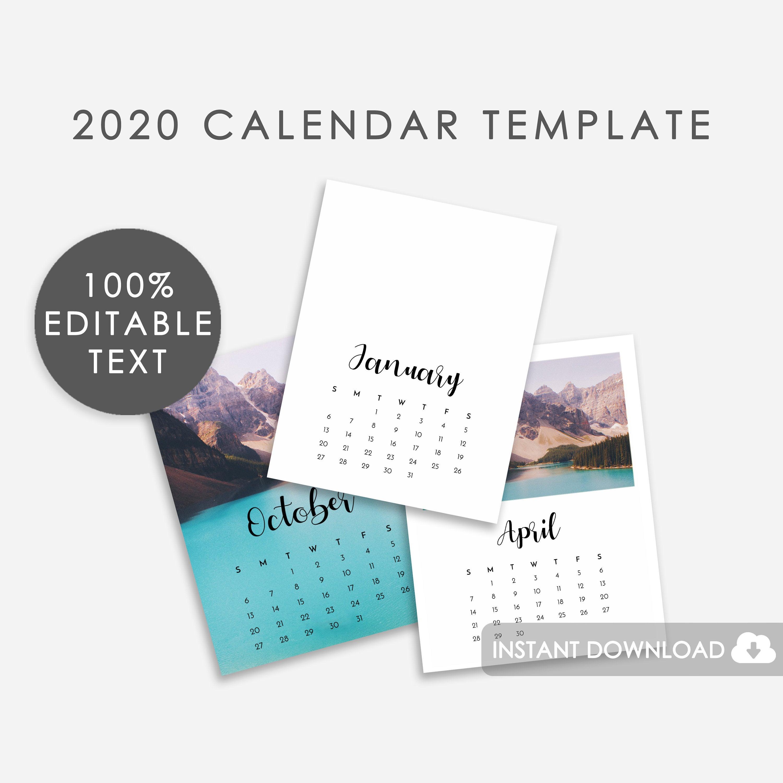 2020 Calendar Template Psd Editable Calendar Template