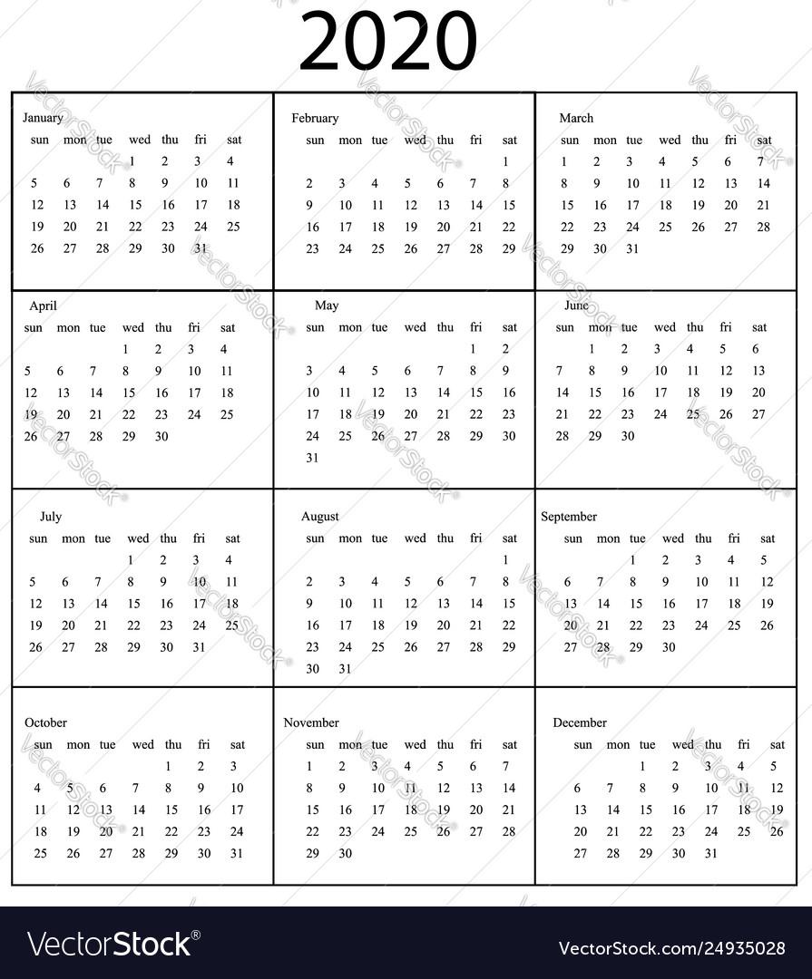 2020 Calendar Template Starts Sunday Year Vector Image