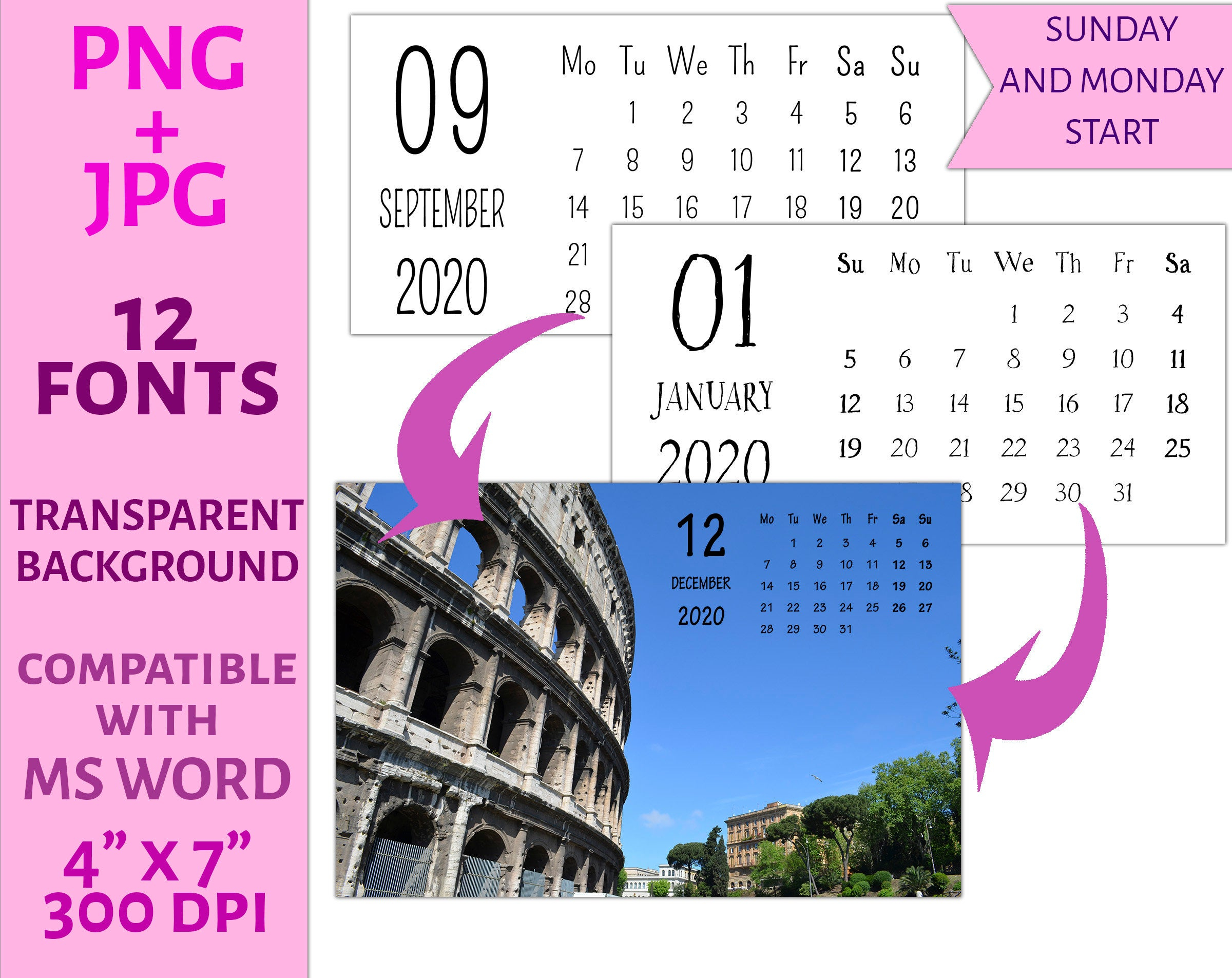 2020 Calendar Templates Png C24 12 Fonts Personal Or