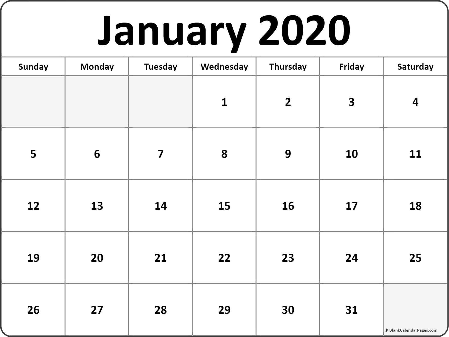 2020 Calendar To Print