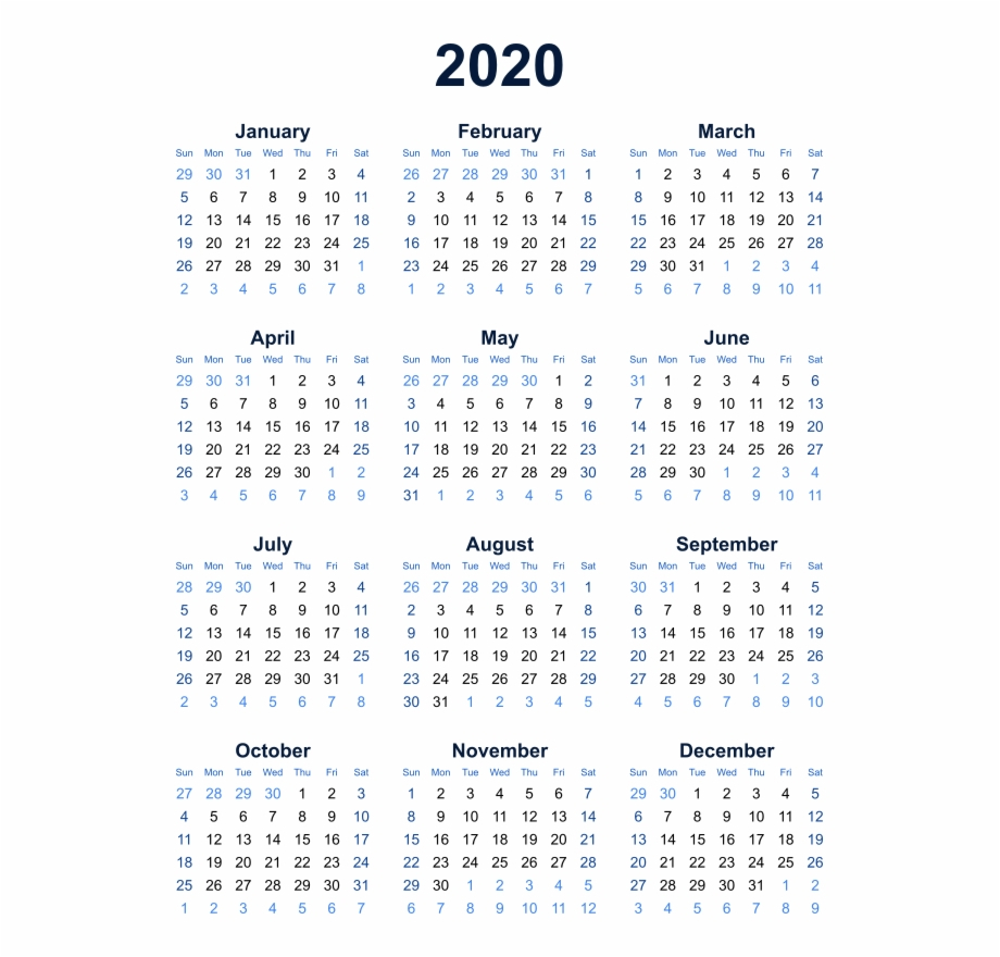 2020 Calendar Transparent Background Png - Year At A Glance Calendar