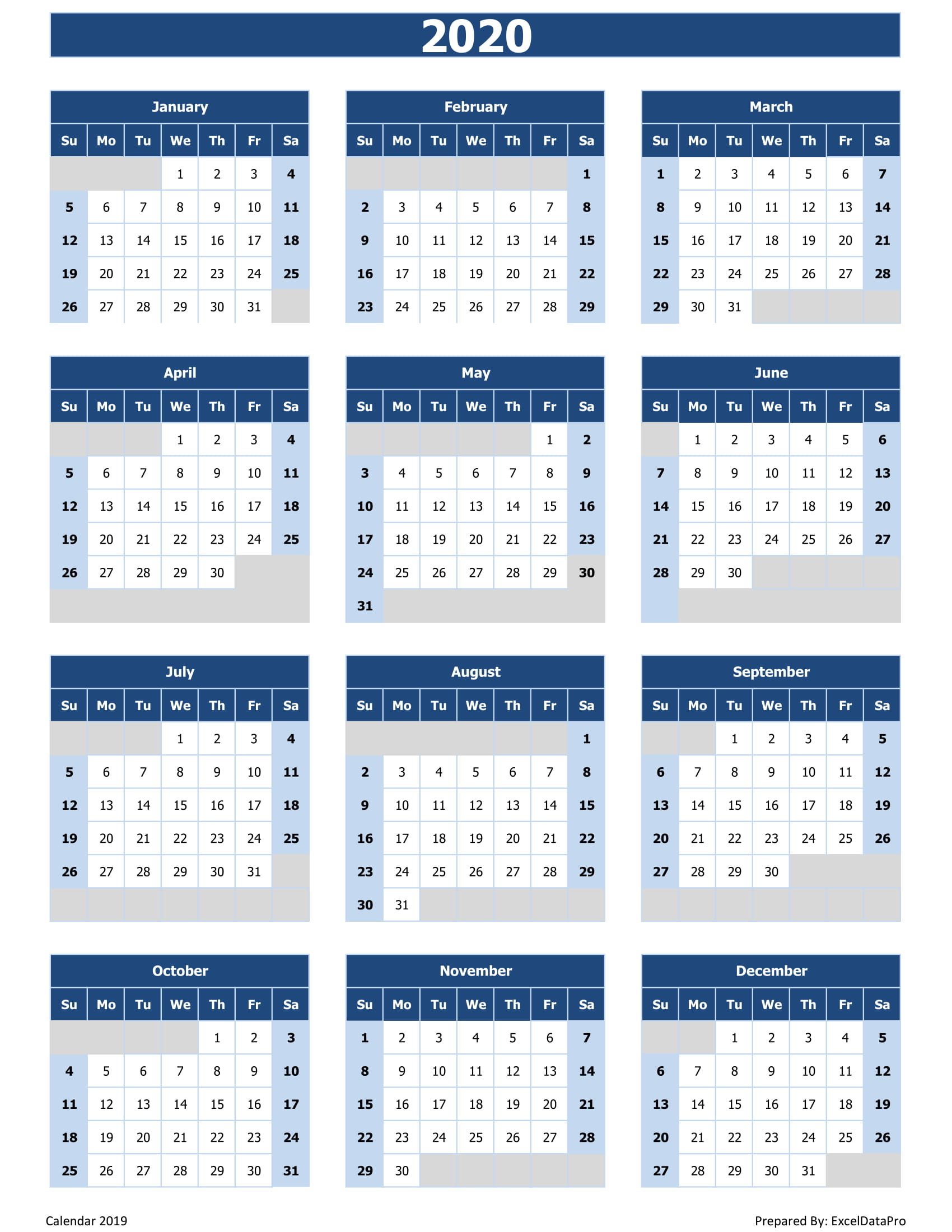 2020 Calendar Uae