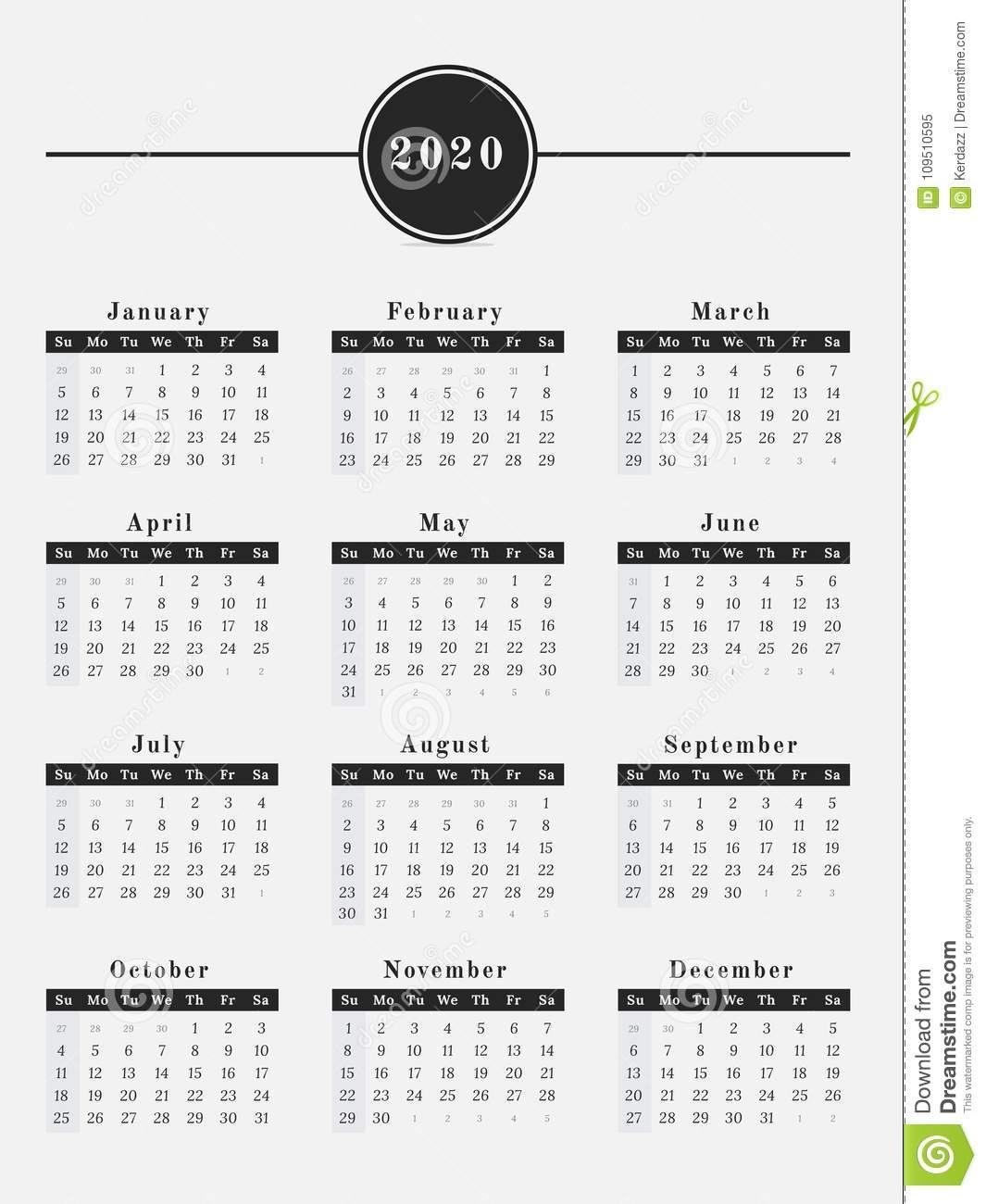 2020 Calendar Vertical