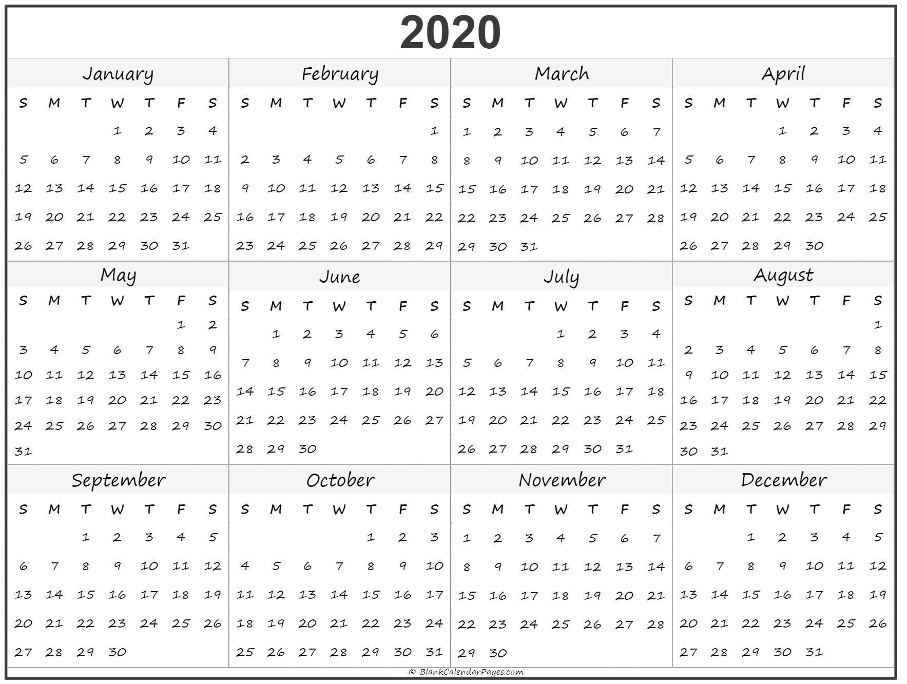 2020 Calendar Whole Year