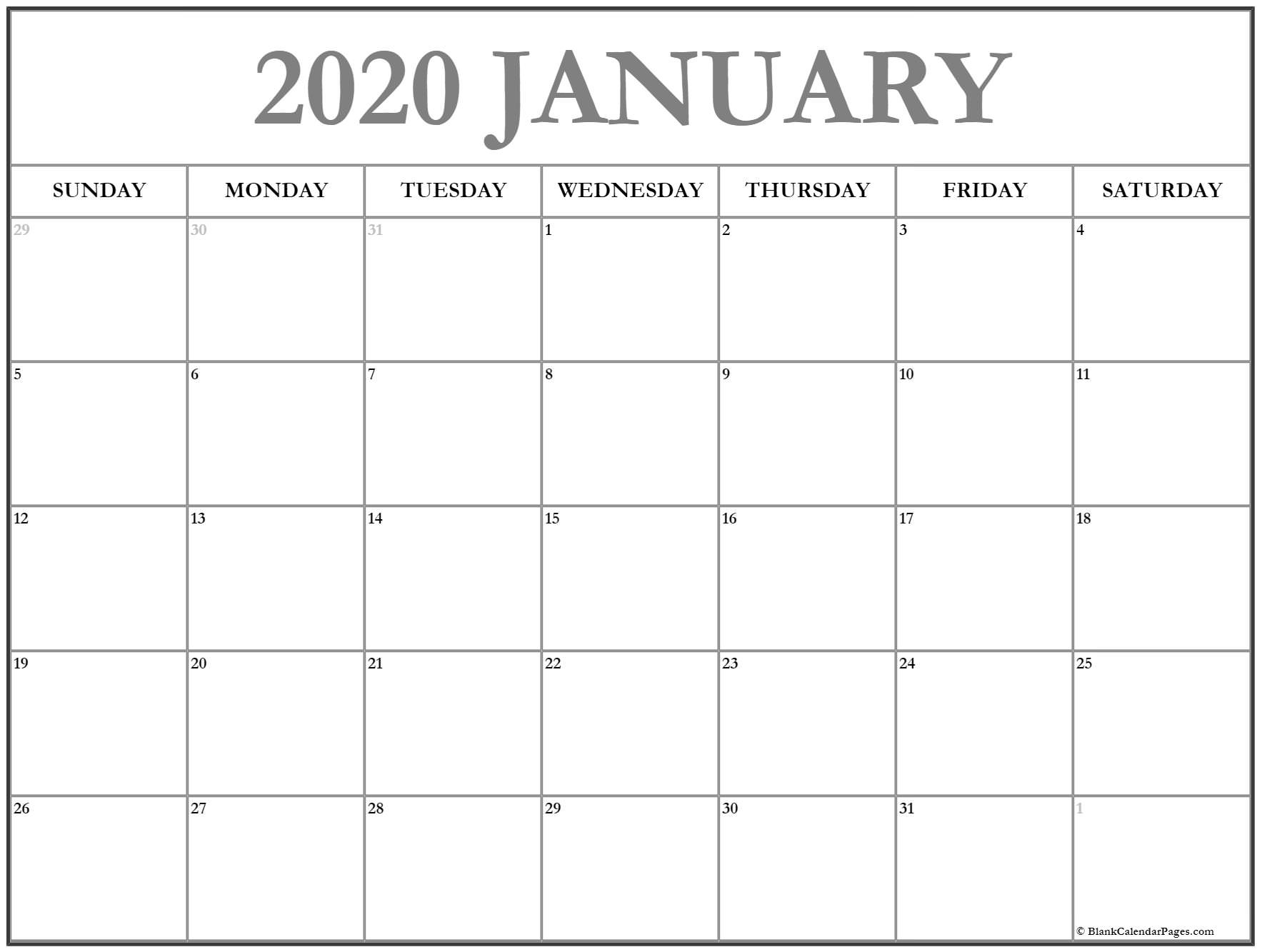 2020 Calendar With Date Boxes