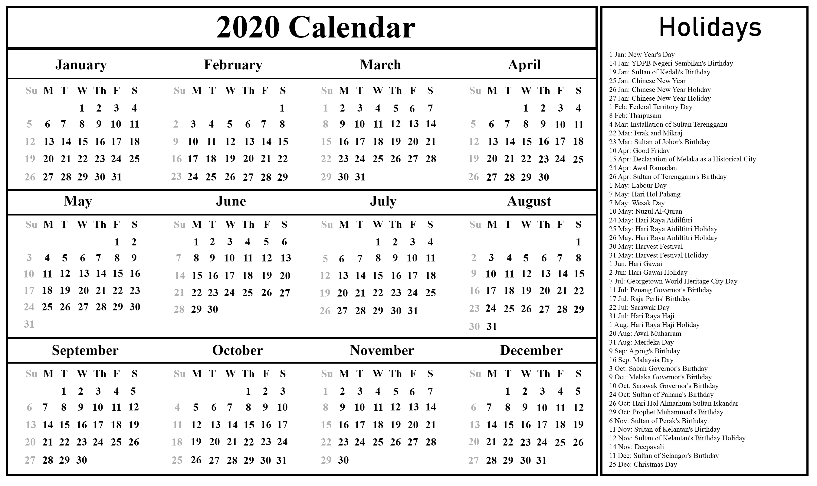 2020 Calendar With Government Holidays