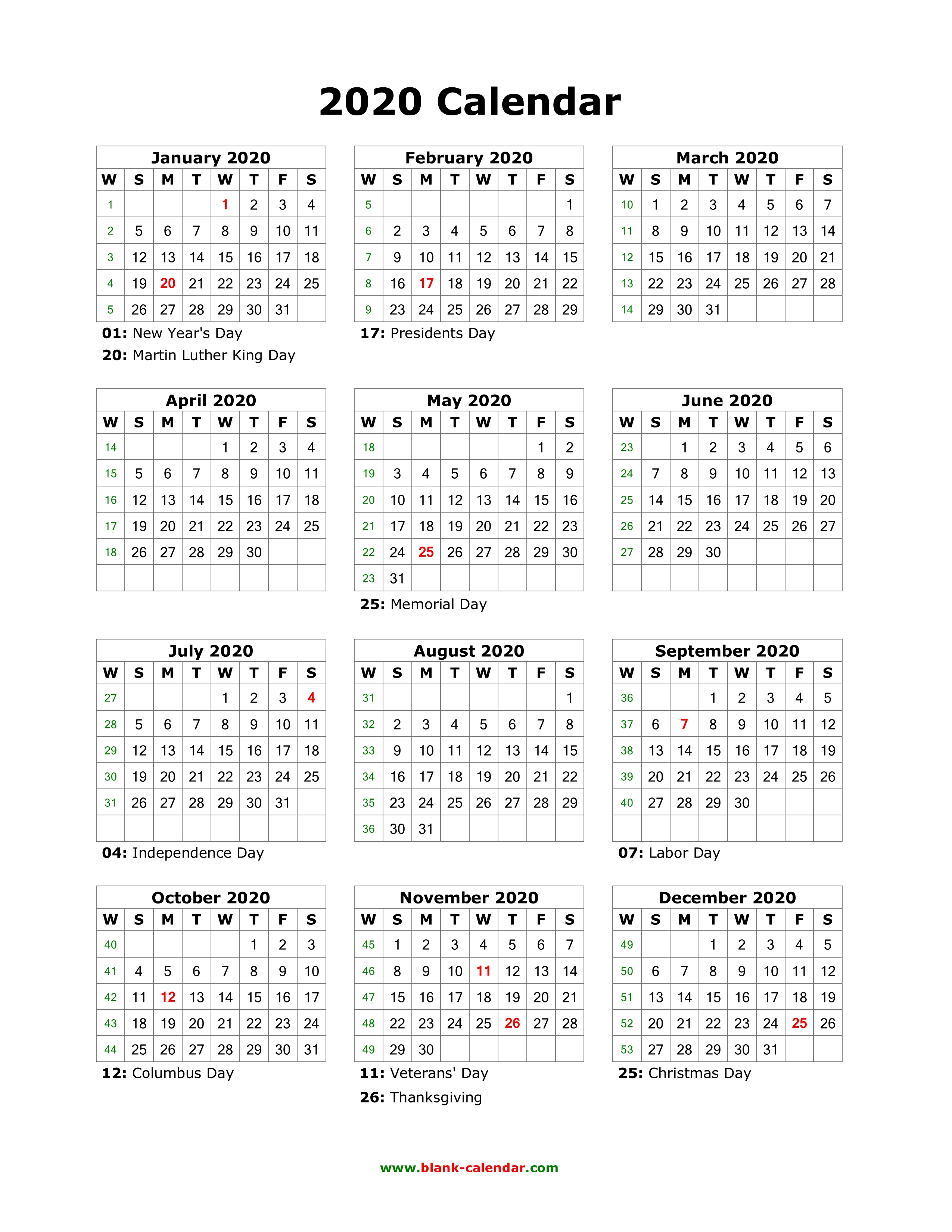 2020 Calendar With Holidays | Calendar Printable Free
