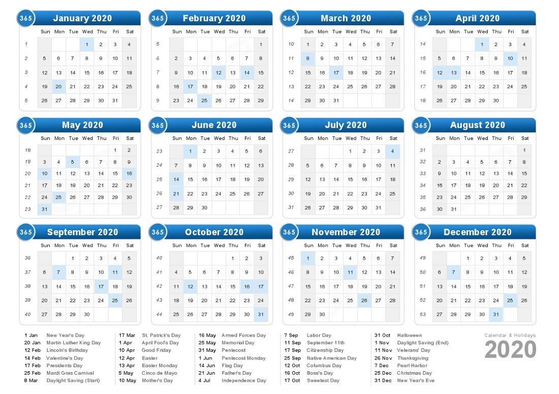2020 Calendar With Holidays Printable All Months