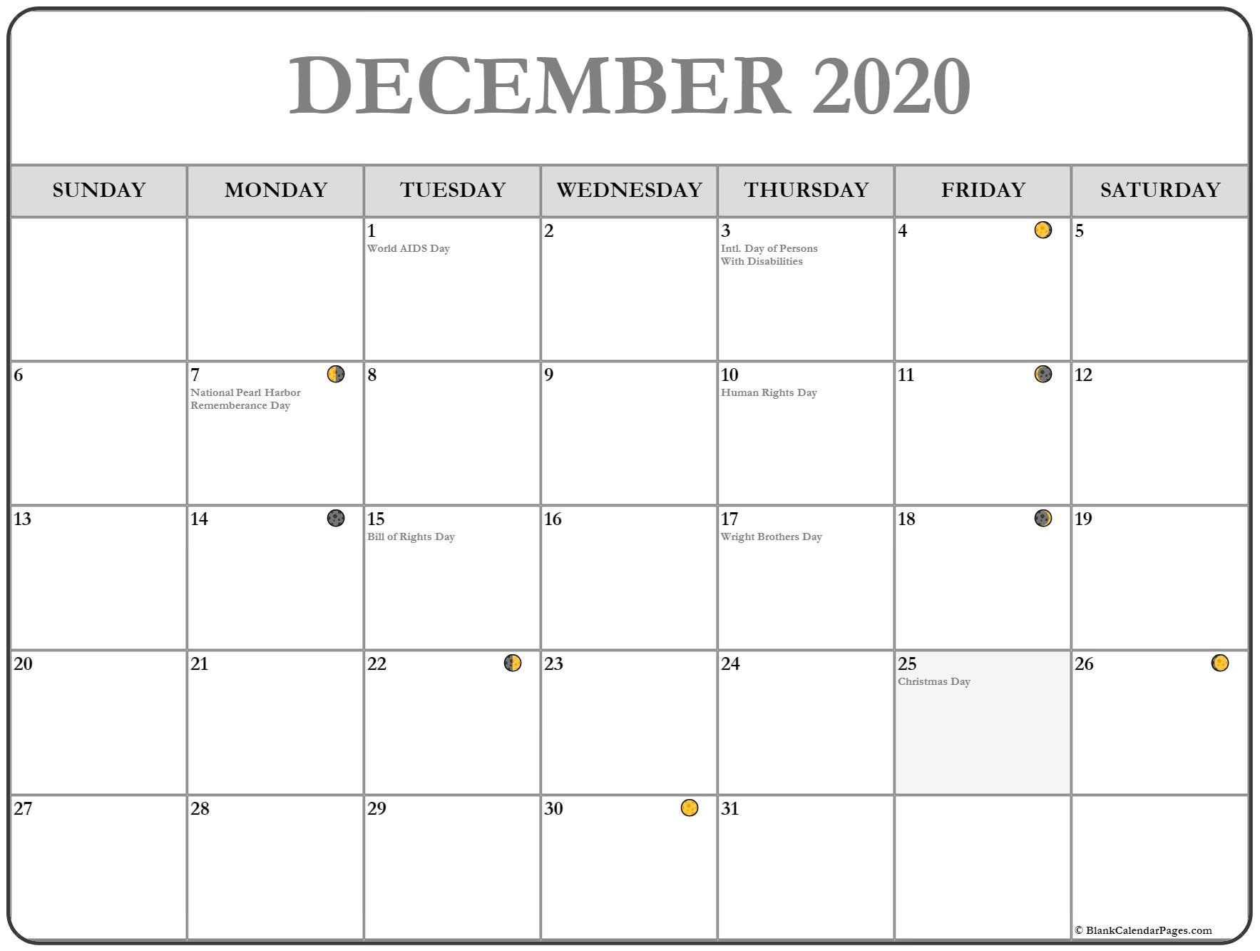 2020 Calendar With Lunar Dates