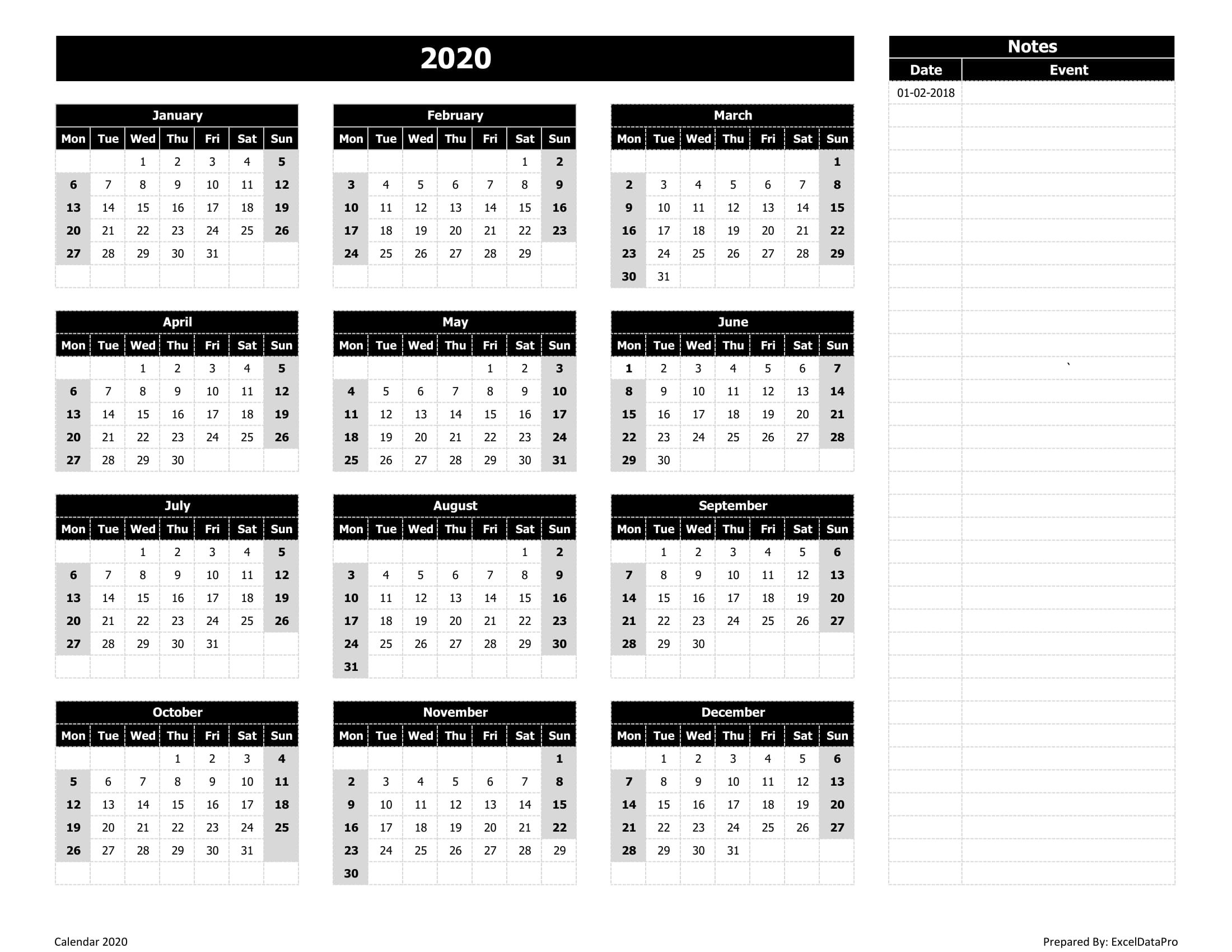 2020 Calendar With Notes