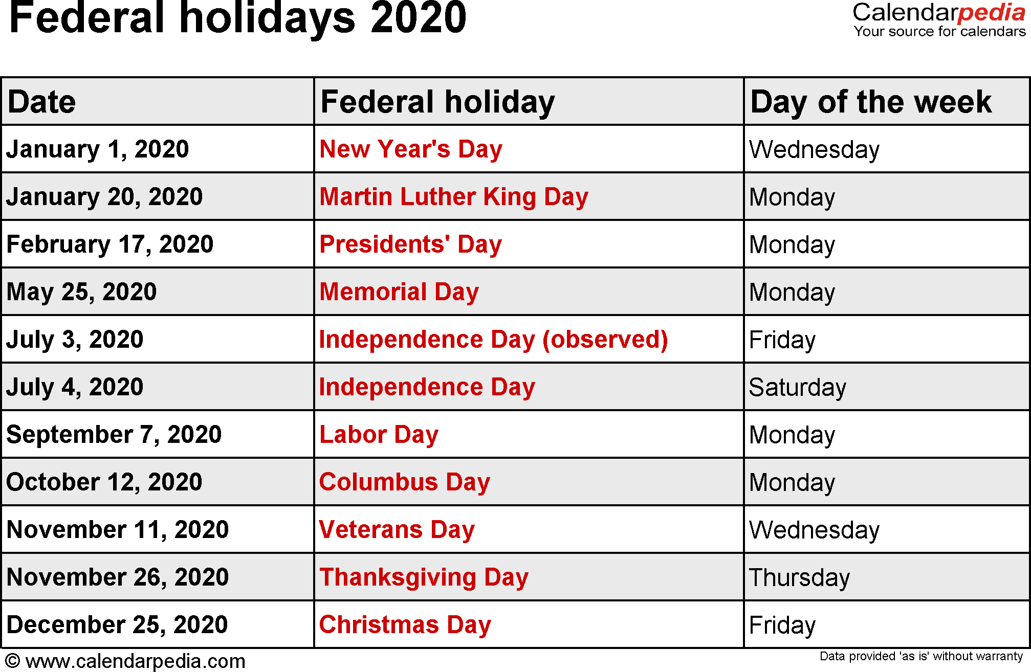 2020 Calendar With Us Holidays