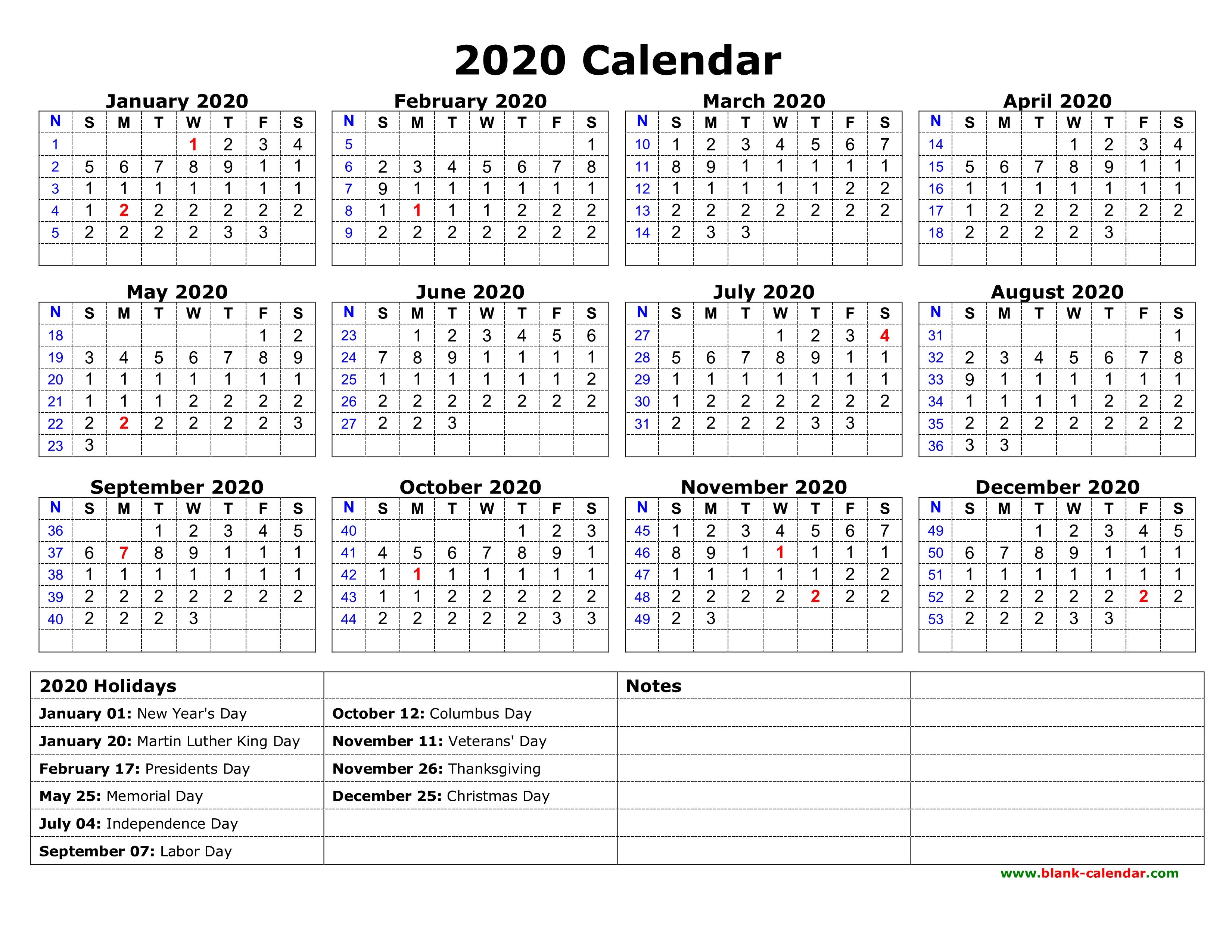 2020 Calendar With Us Holidays Printable