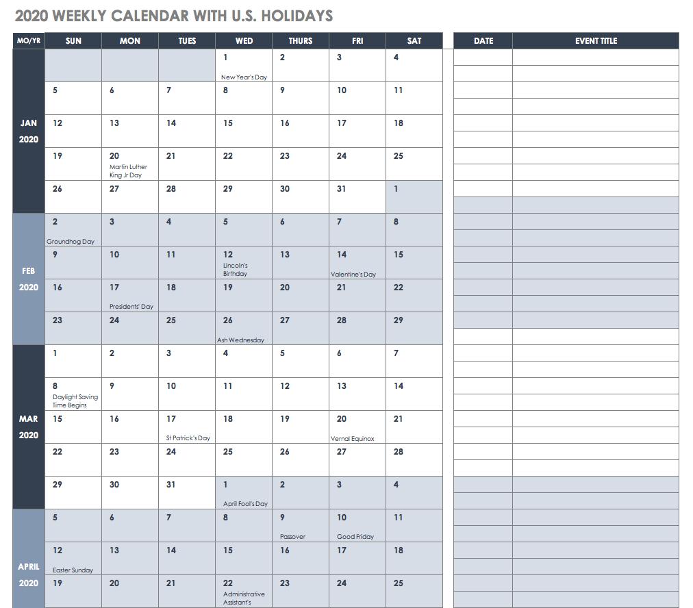 2020 Calendar Xls