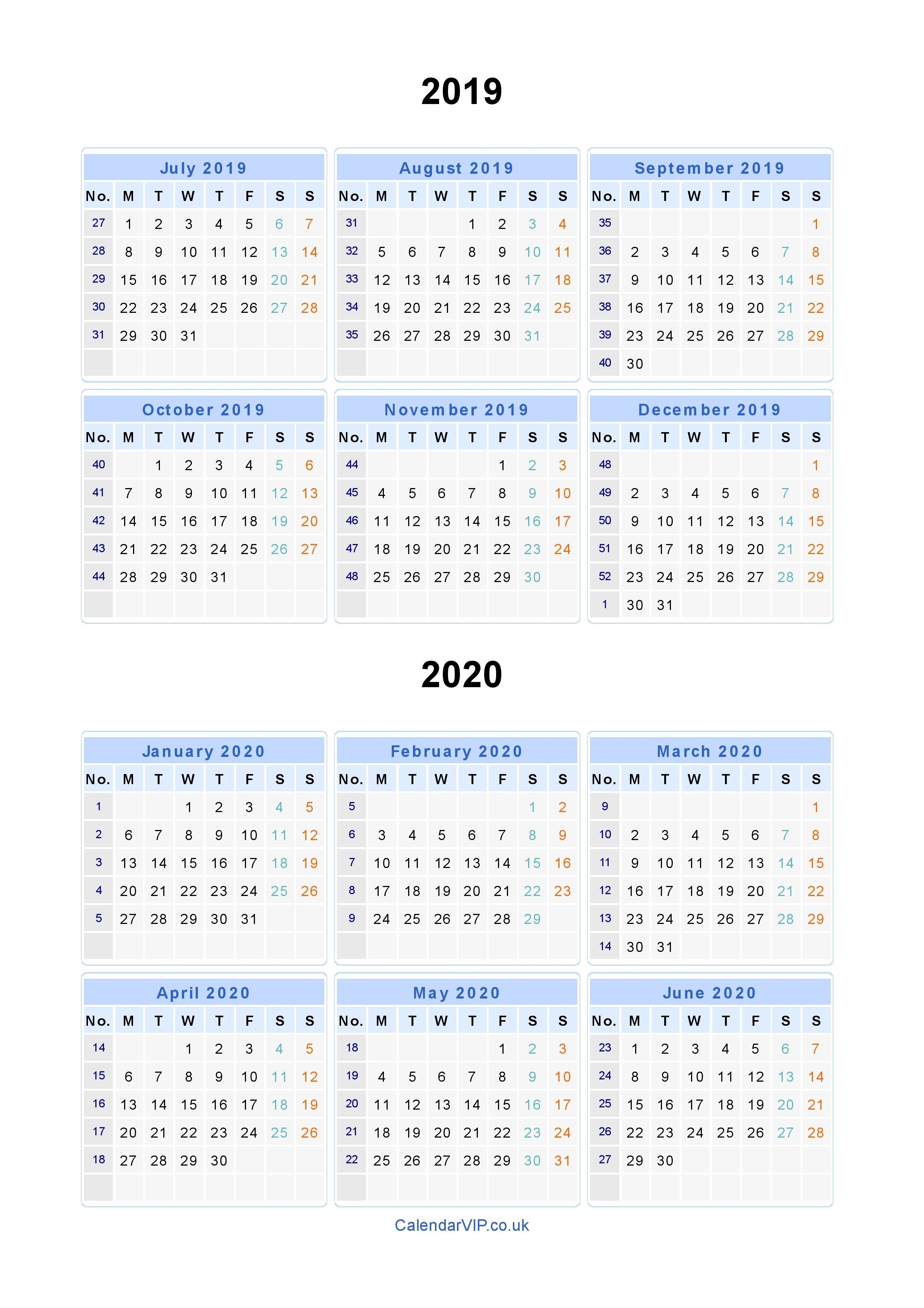 2020 Calendar Year At A Glance