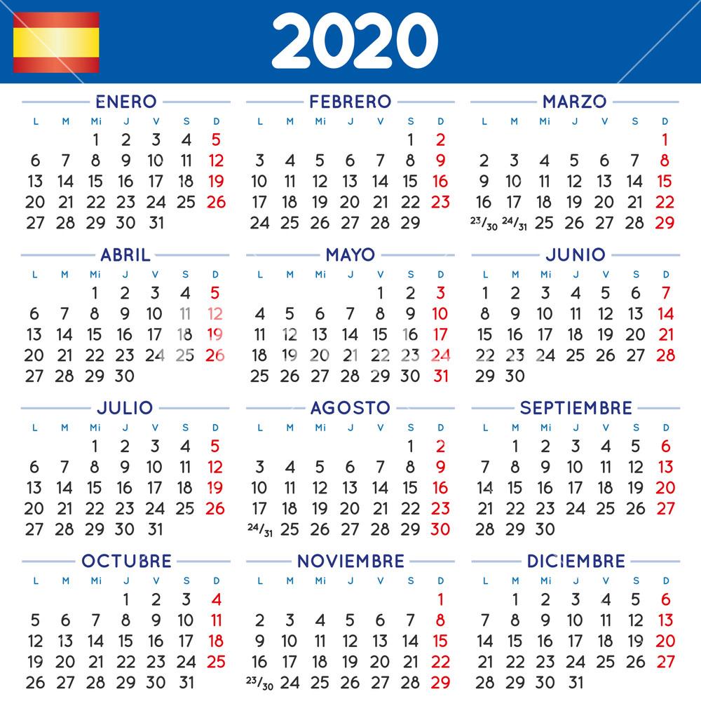2020 Elegant Squared Calendar In Spanish. Year 2020 Calendar