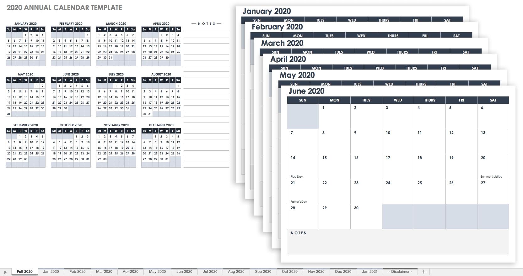 2020 Excel Calendar Canada