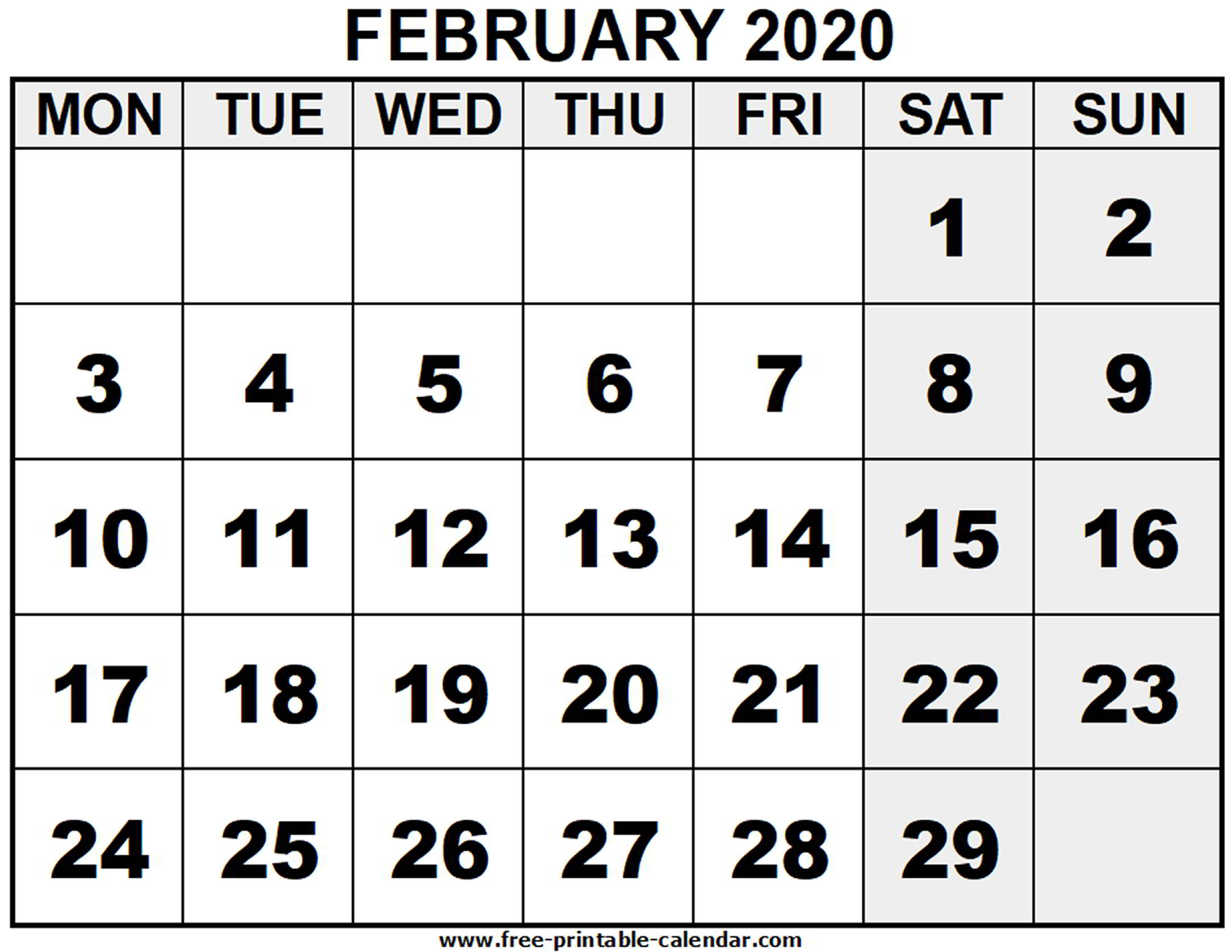 2020 February - Free-Printable-Calendar