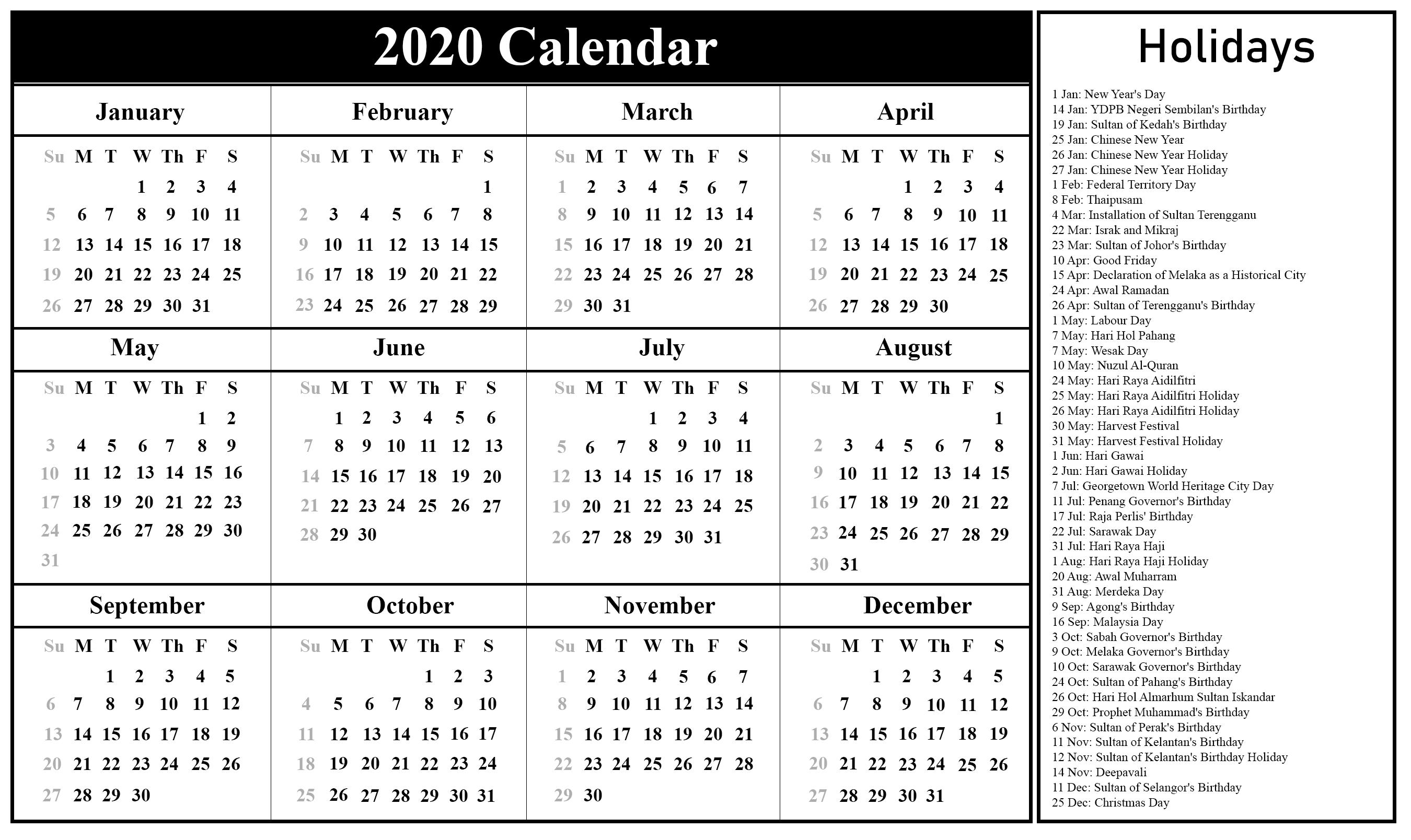 2020 Federal Leave Calendar