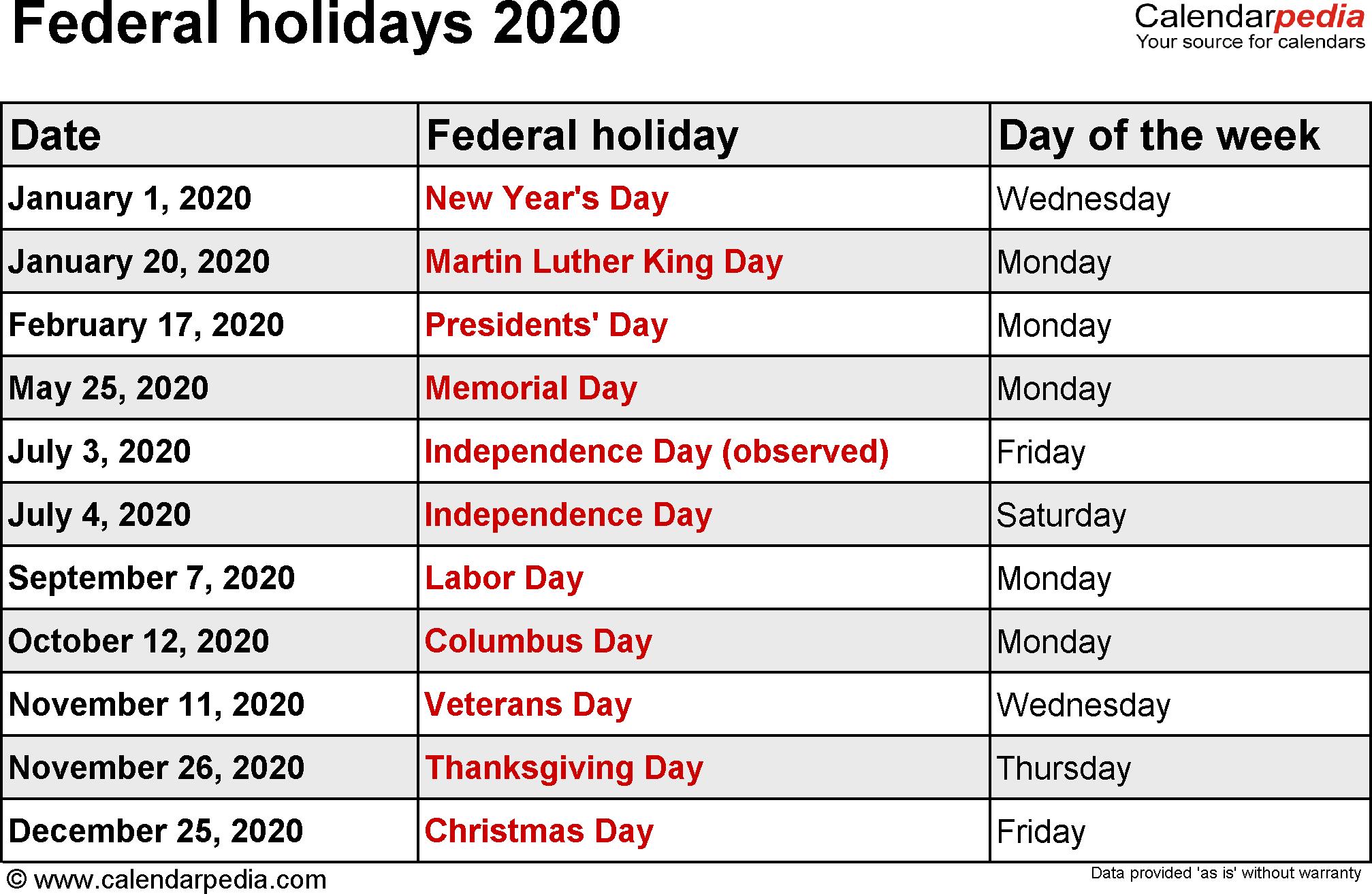 2020 Holiday Calendar Federal