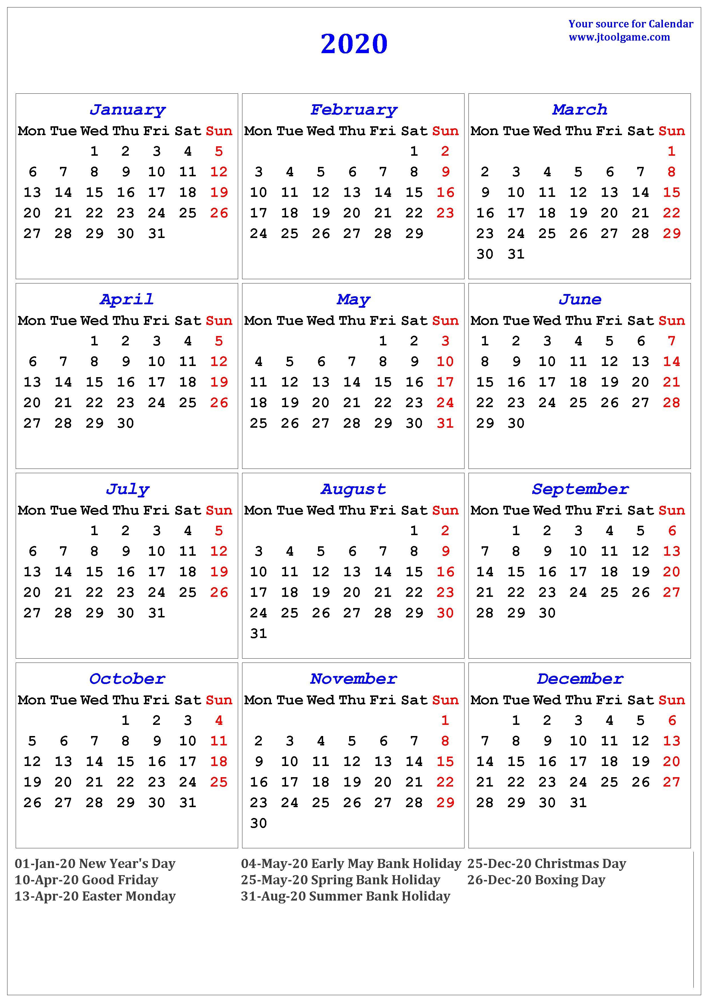 2020 Holiday Calendar Us