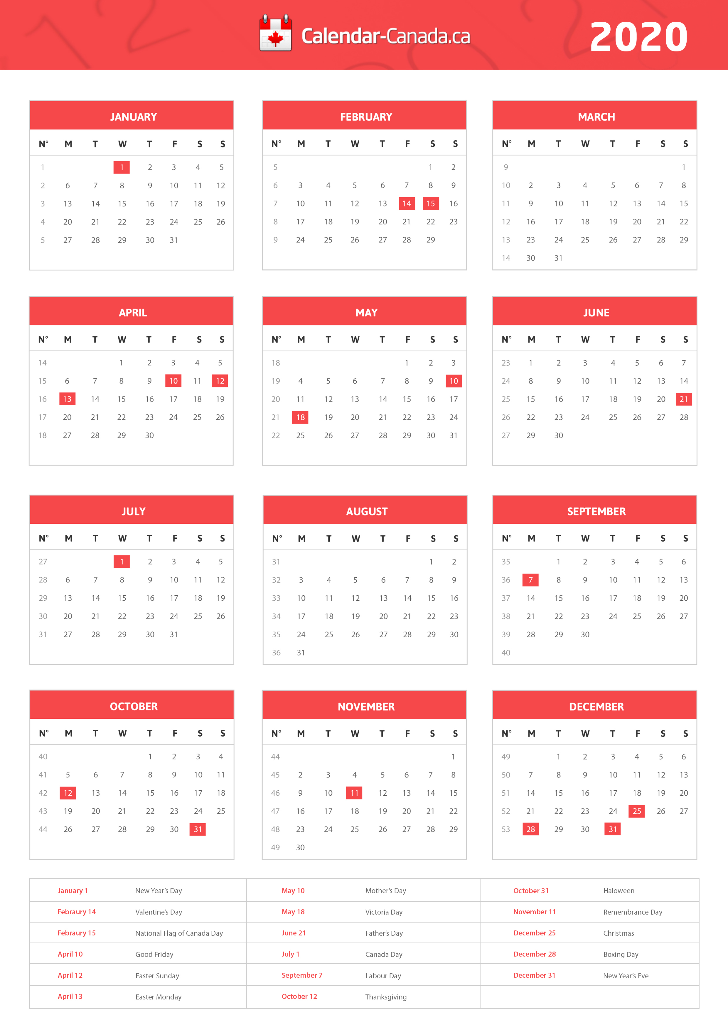 2020 Holidays Canada - Statutory, National & Local Holidays For 2020
