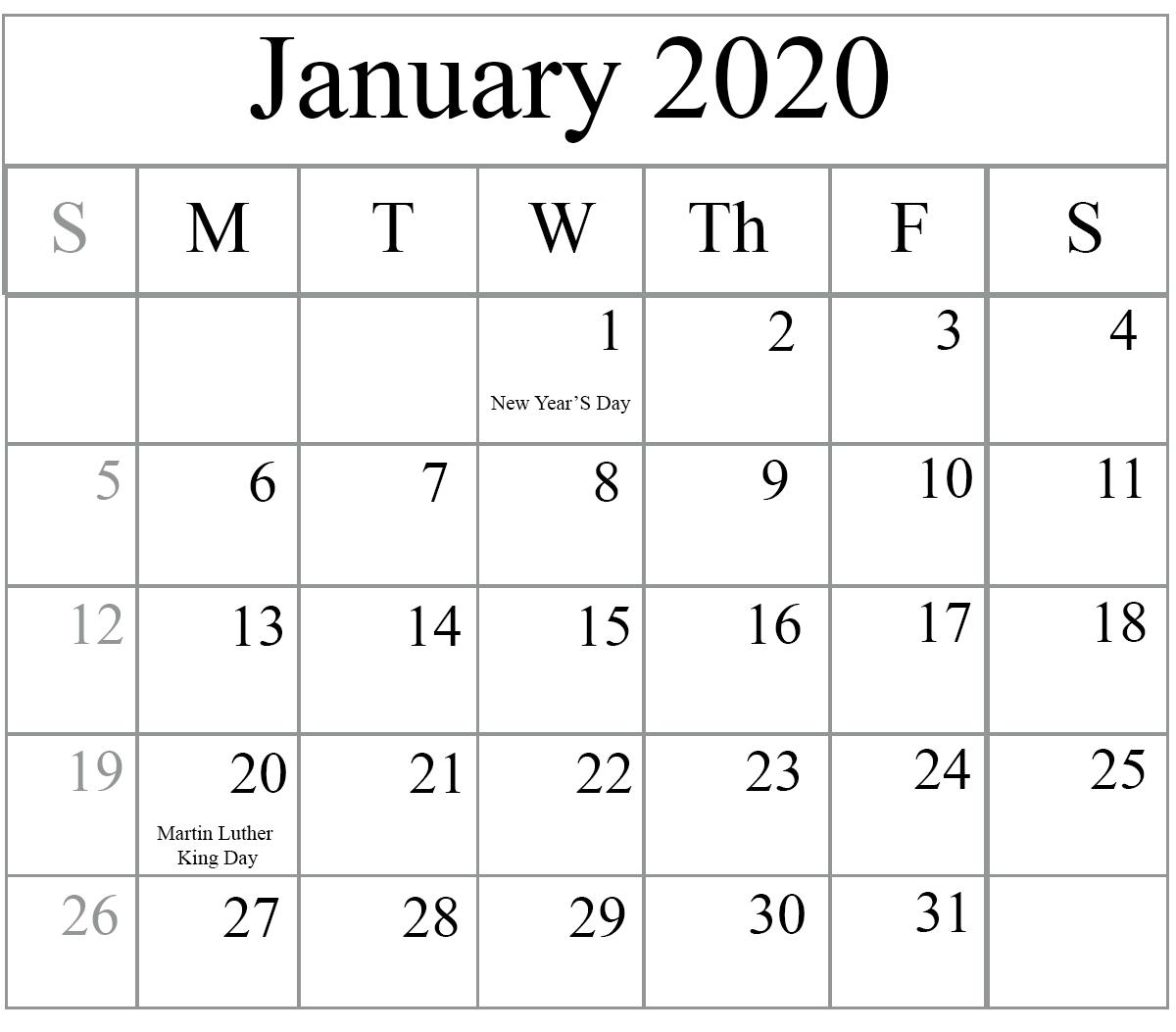 2020 January Calendar Printable
