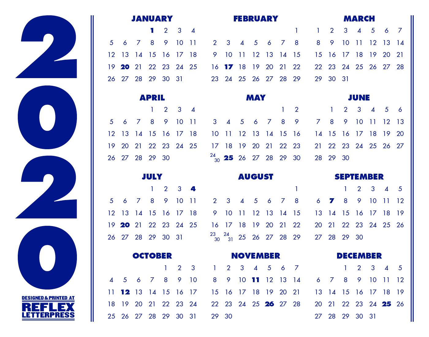 2020 Minimalist Calendar – Reflex Letterpress