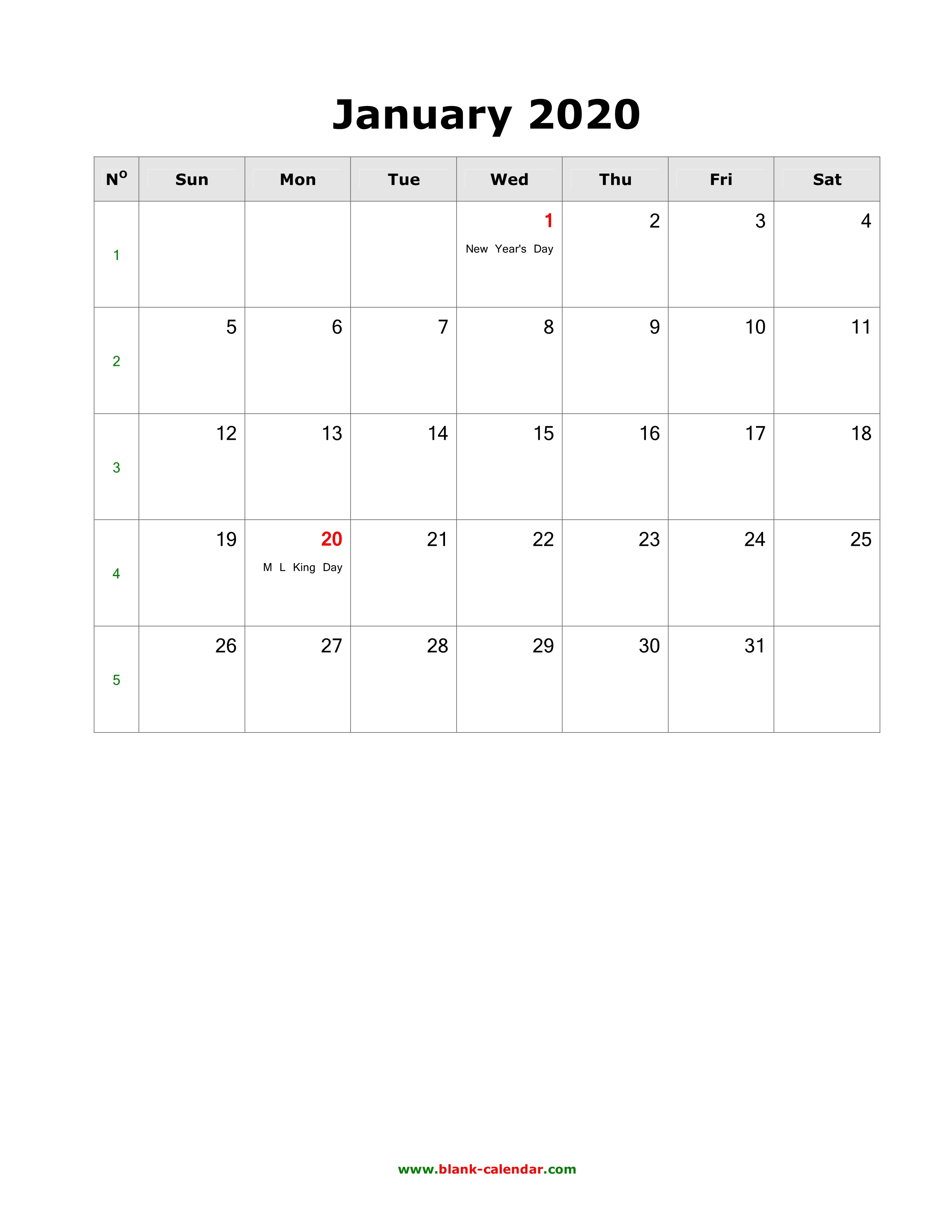 2020 Monthly Calendar With Holidays