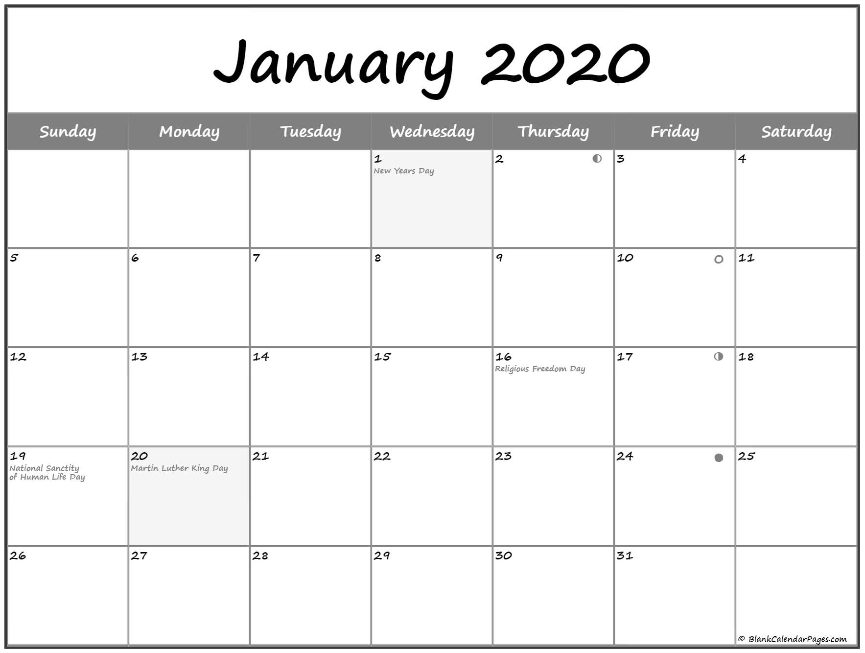 2020 Moon Calendar