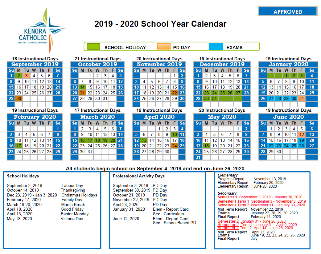 2020 Northwestern Calendar