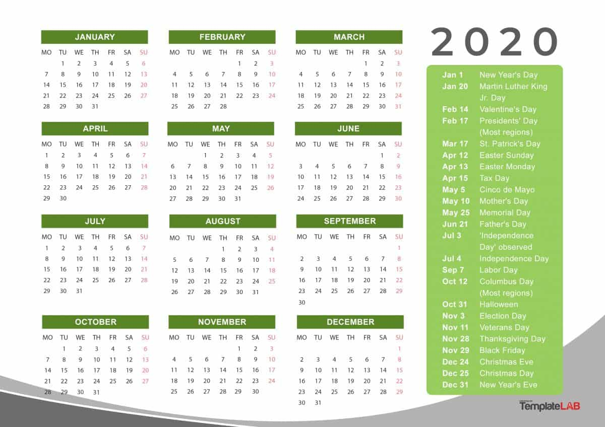 [%2020 Printable Calendars [Monthly, With Holidays, Yearly] ᐅ|2020 Calendar Holiday List|2020 Calendar Holiday List%]