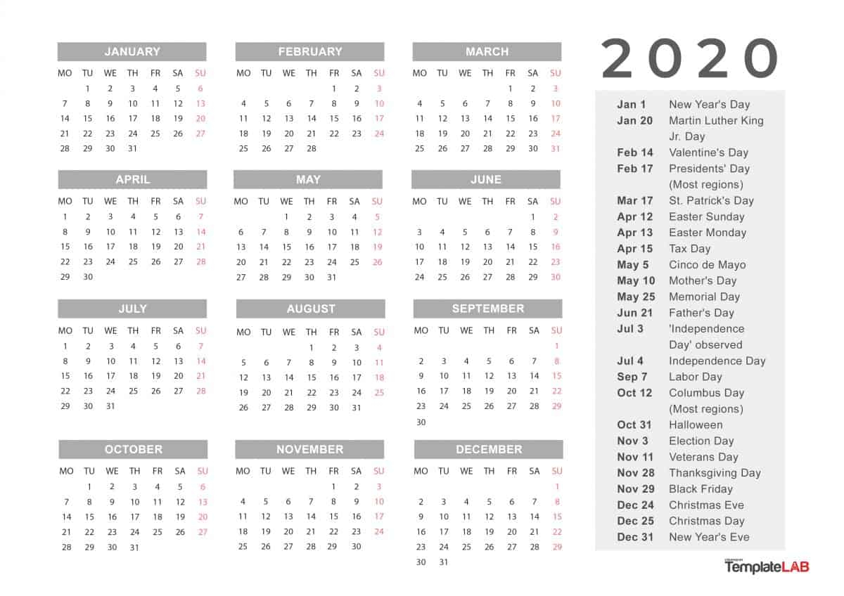 graphic about Calendar Printable With Holidays titled 2020 Trip Calendar Printable Calendar Printable No cost