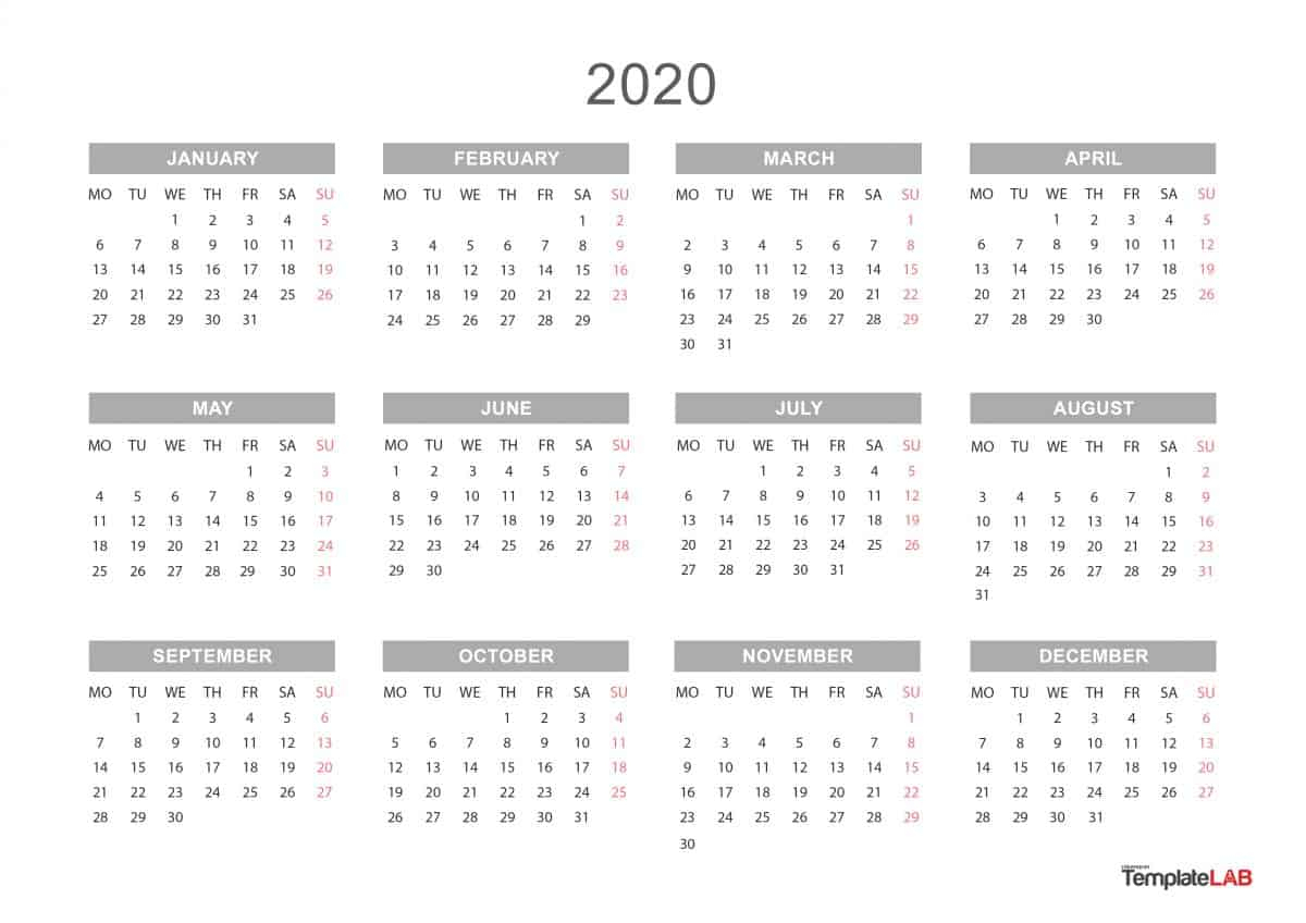 [%2020 Printable Calendars [Monthly, With Holidays, Yearly] ᐅ|2020 Yearly Calendar Landscape|2020 Yearly Calendar Landscape%]