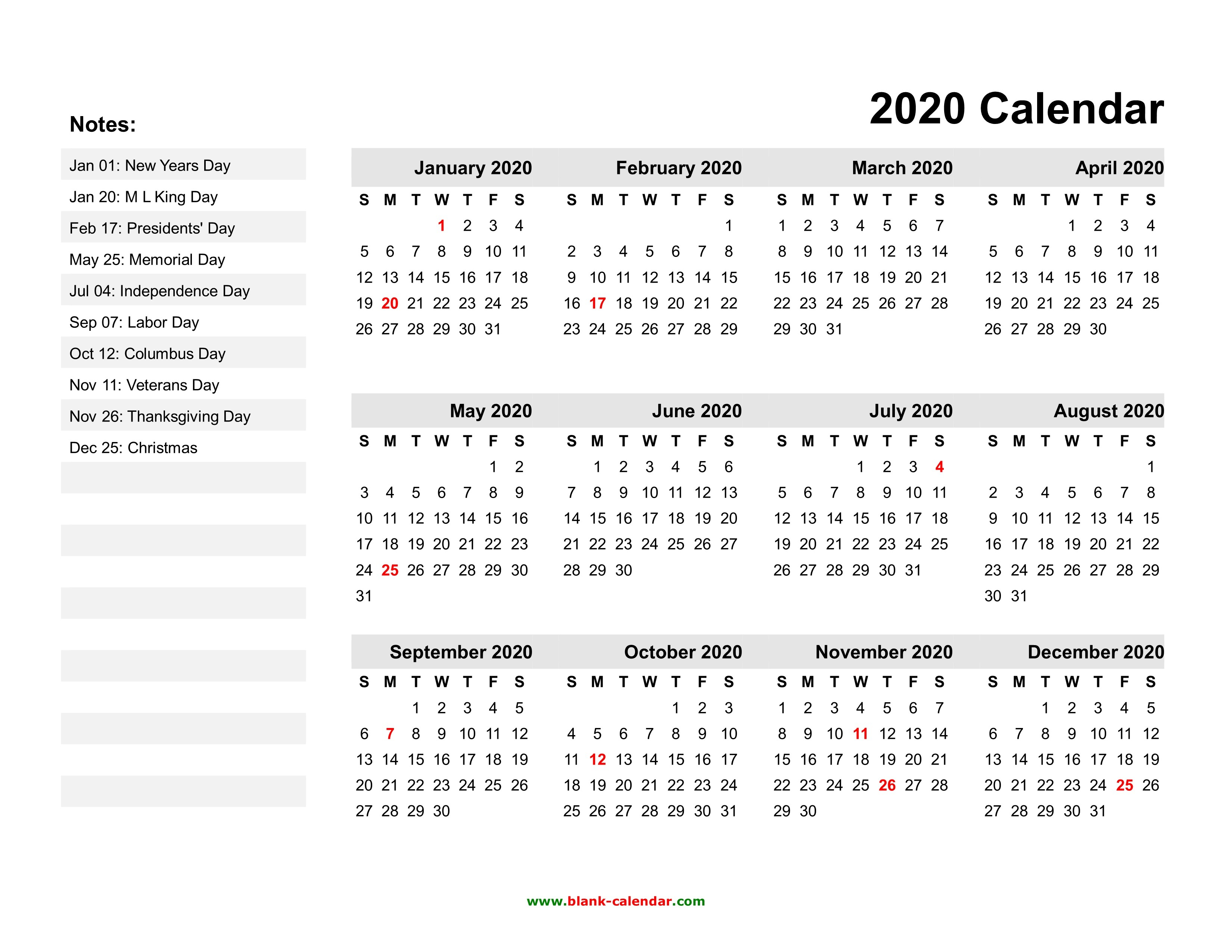 2020 Printable Calendars With Us Holidays