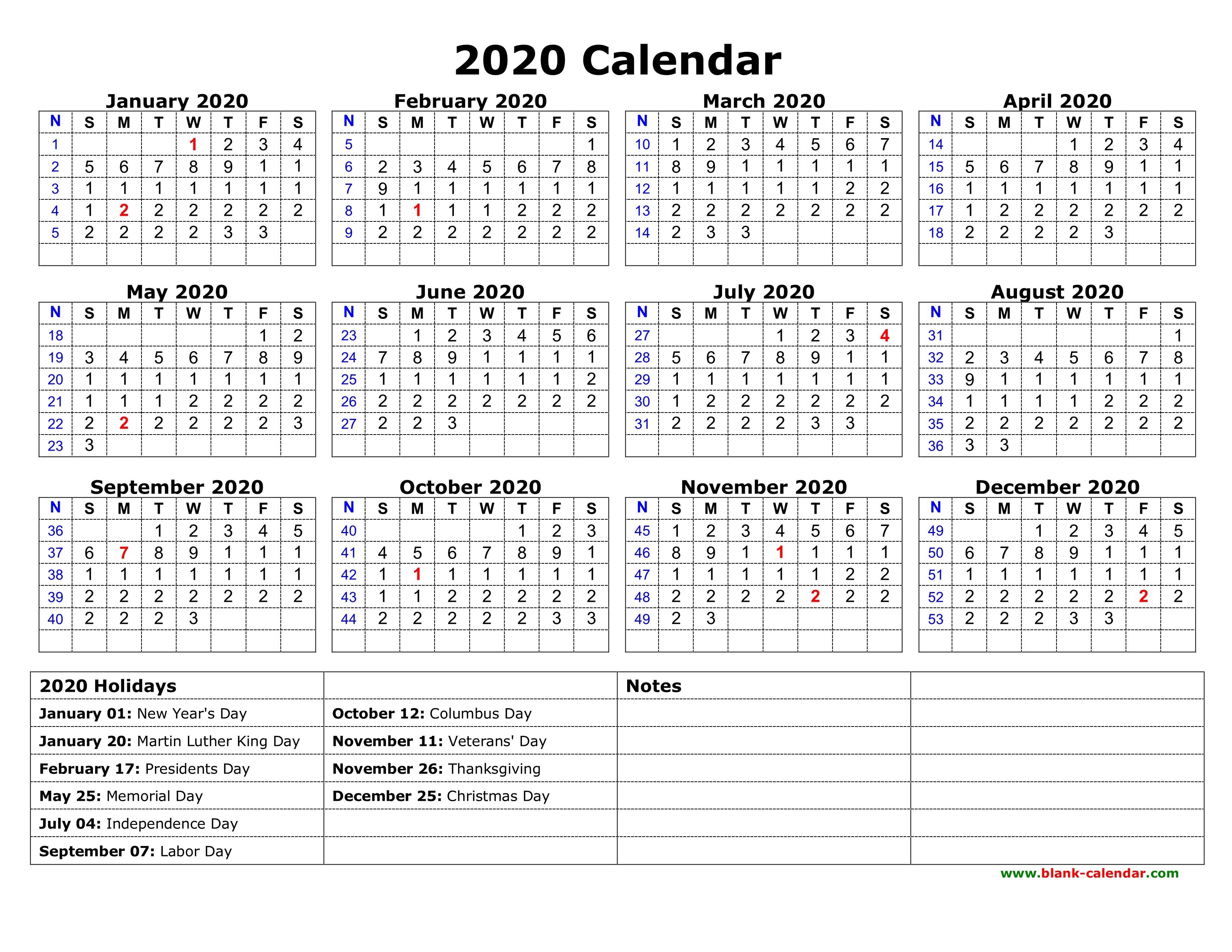 2020 Printable Free Calendar Free Download Printable Calendar 2020