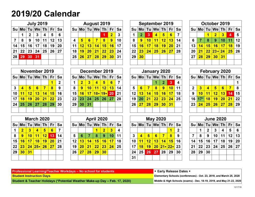 2020 Release Calendar