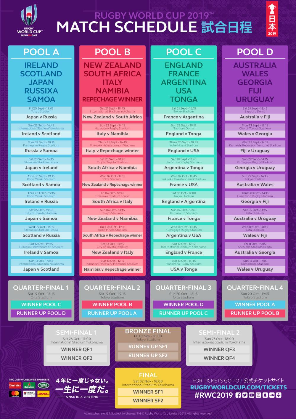 2020 Rugby Calendar