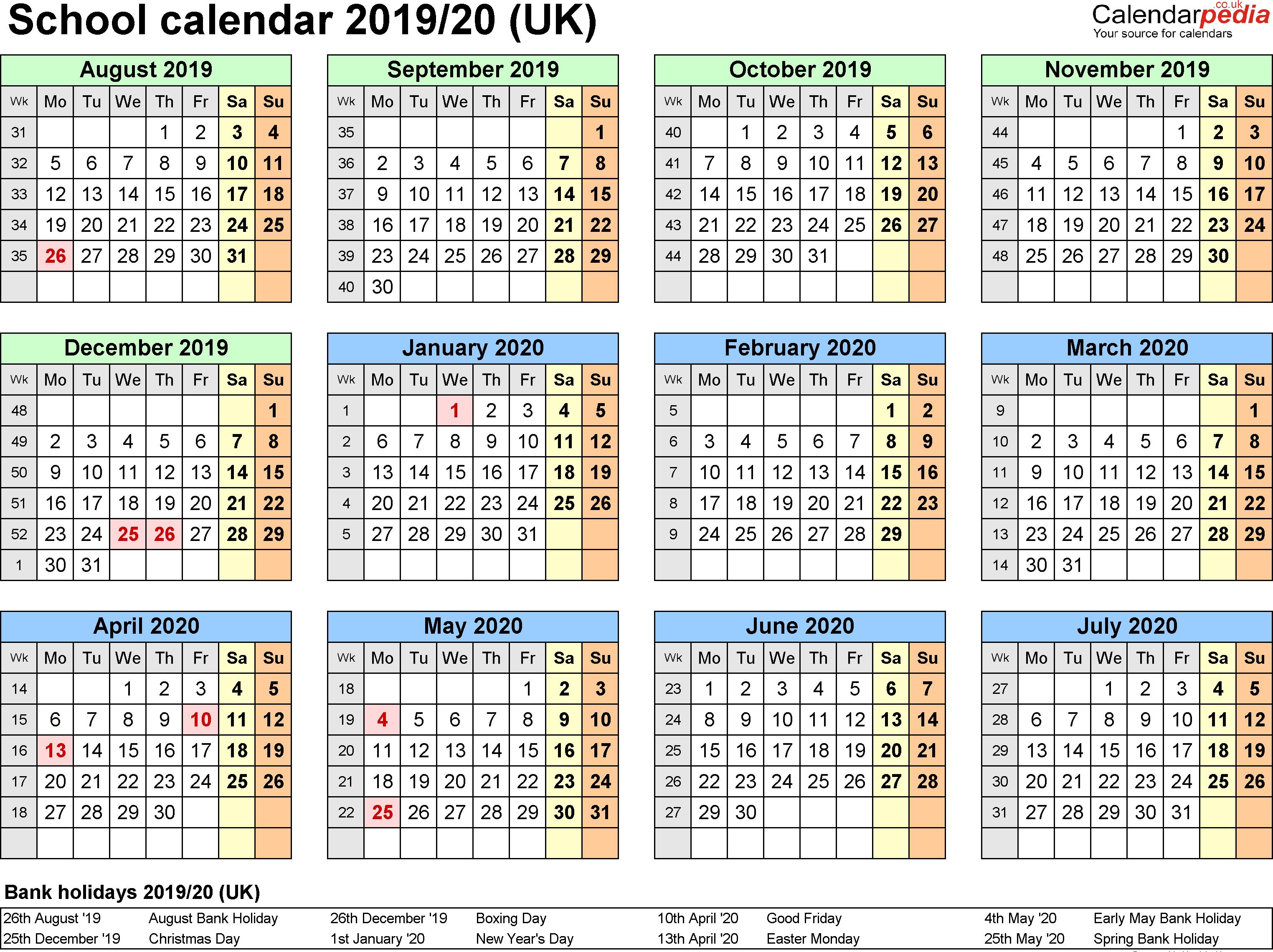 2020 School Calendar Nsw
