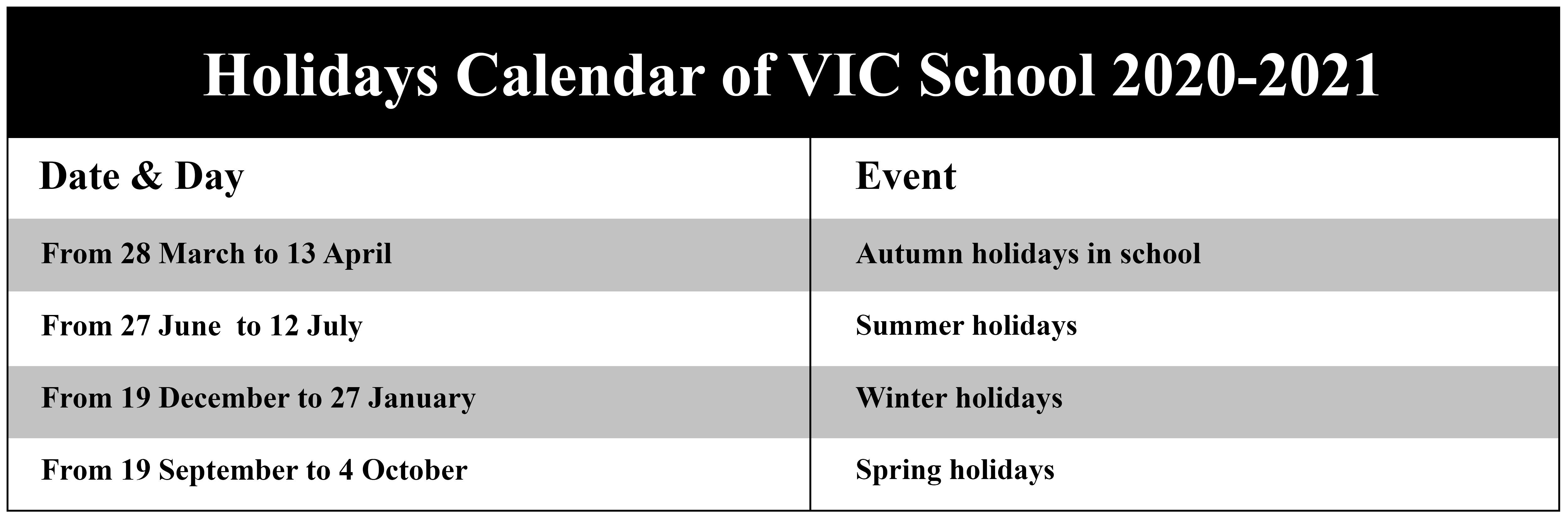2020 Vic School Holidays Calendar With School Terms Dates