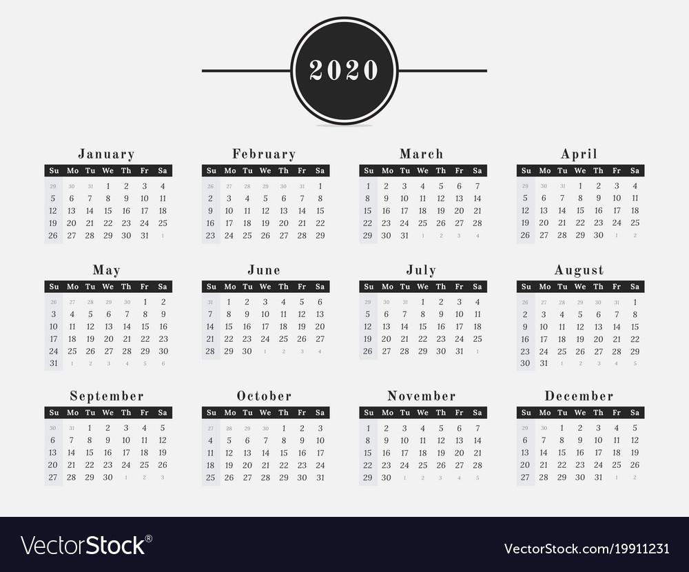 2020 Year Calendar Horizontal Design Royalty Free Vector