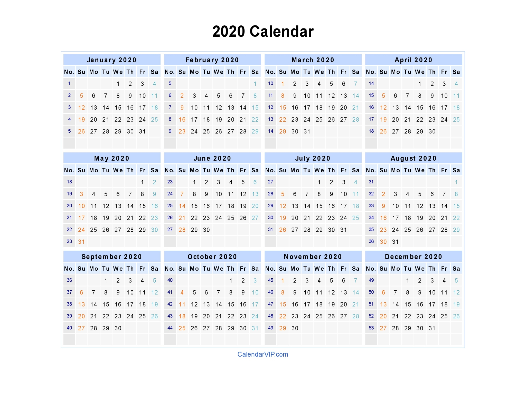 2020 Yearly Calendar Landscape