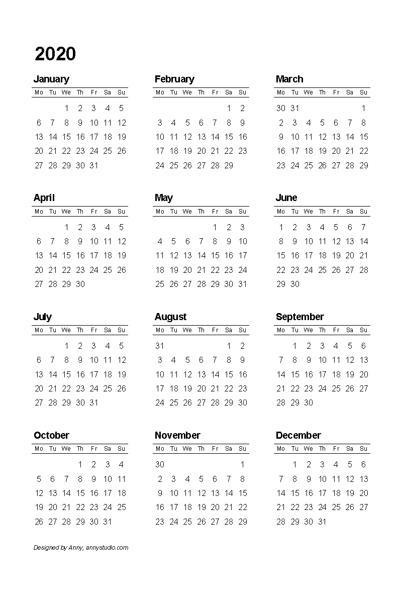 2020 Yearly Calendar One Page
