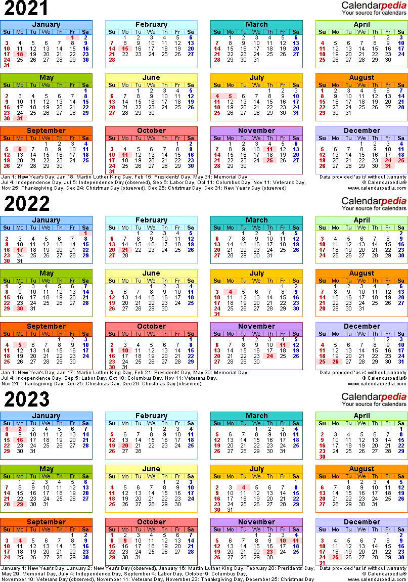 2021/2022/2023 Calendar - 4 Three-Year Printable Word Calendars