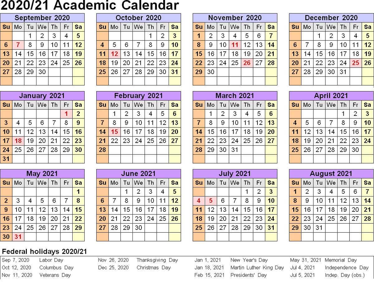 2021 And 2020 Calendar Printable Academic Calendar