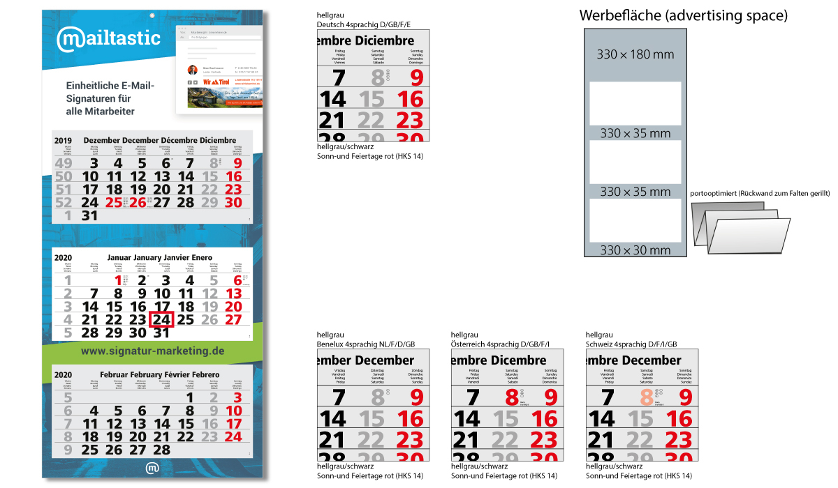 3-Month Calendar 2020 Maxi Light 3 Including Advertising Printing