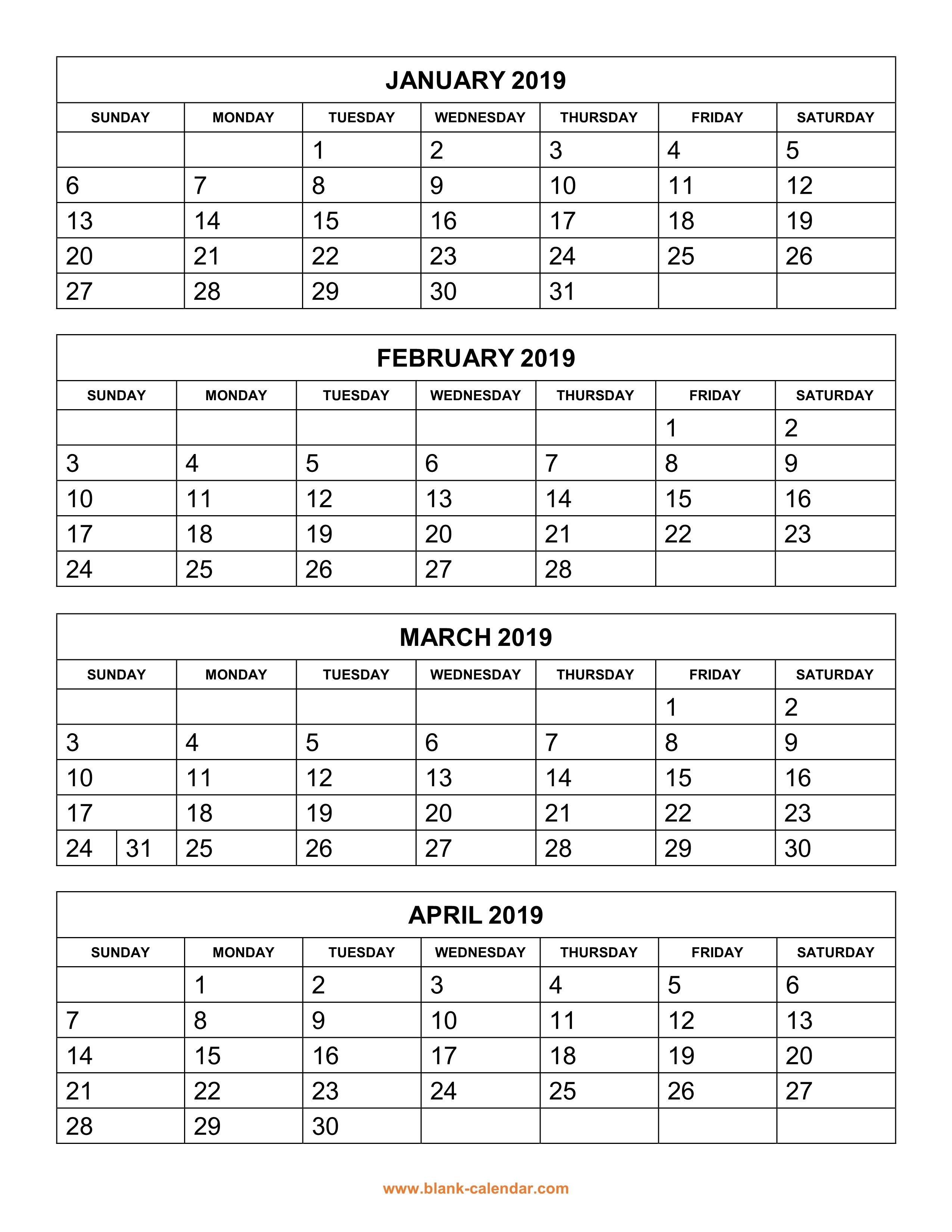 3 Month Calendar Blank